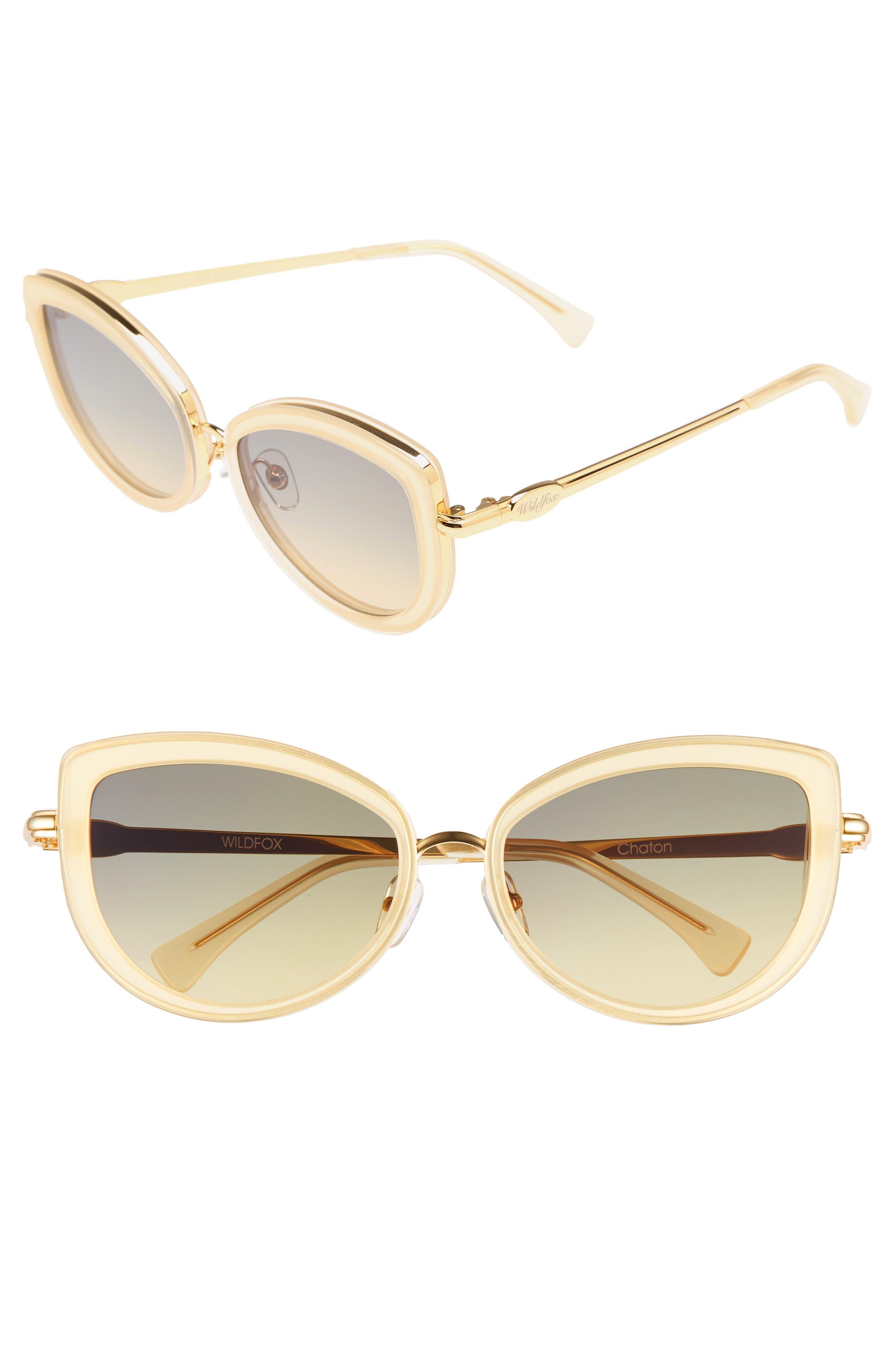 Chaton 54mm Sunglasses,                         Main,                         color, Gold