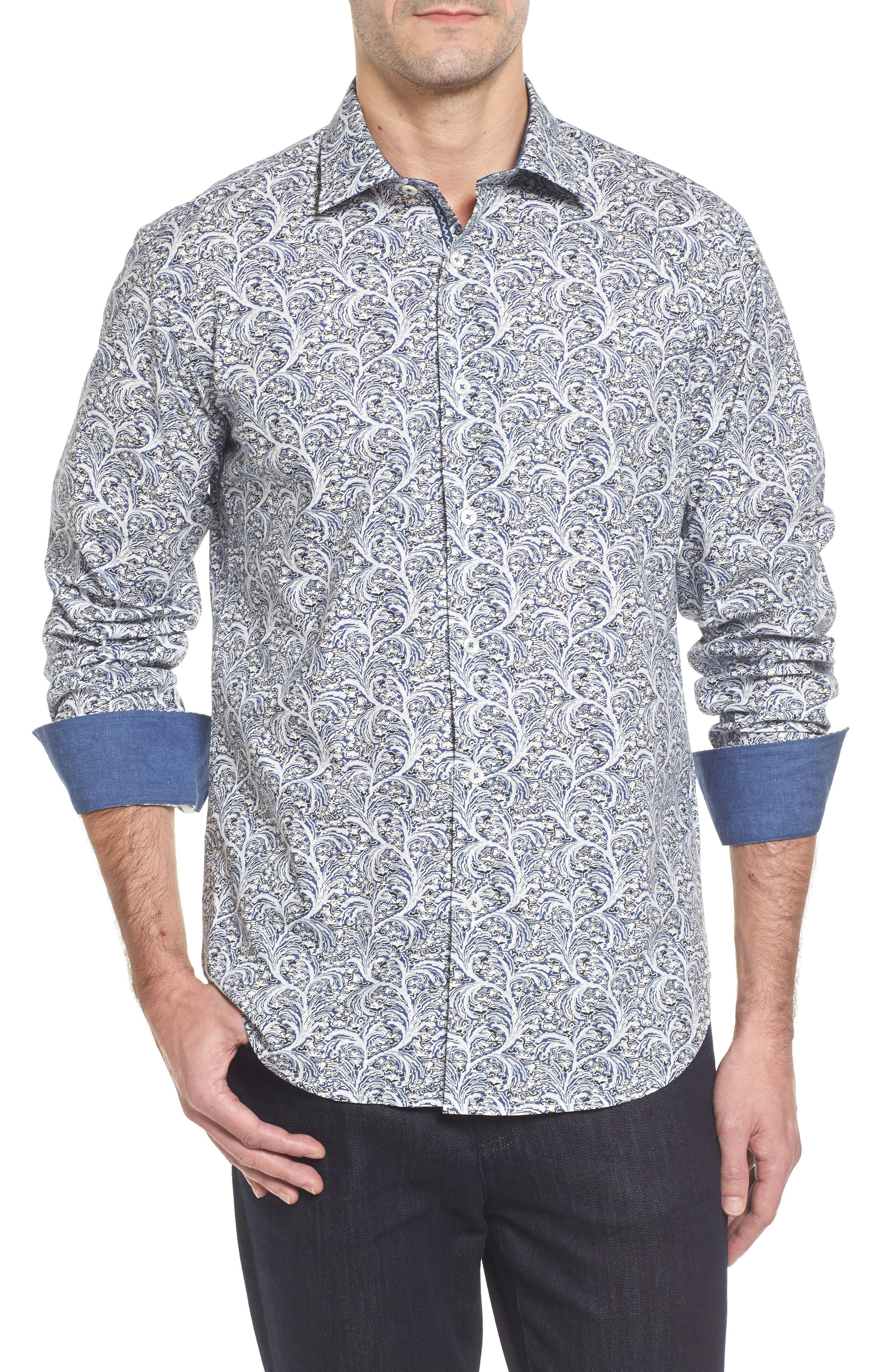 Slim Fit Print Sport Shirt,                         Main,                         color, Navy