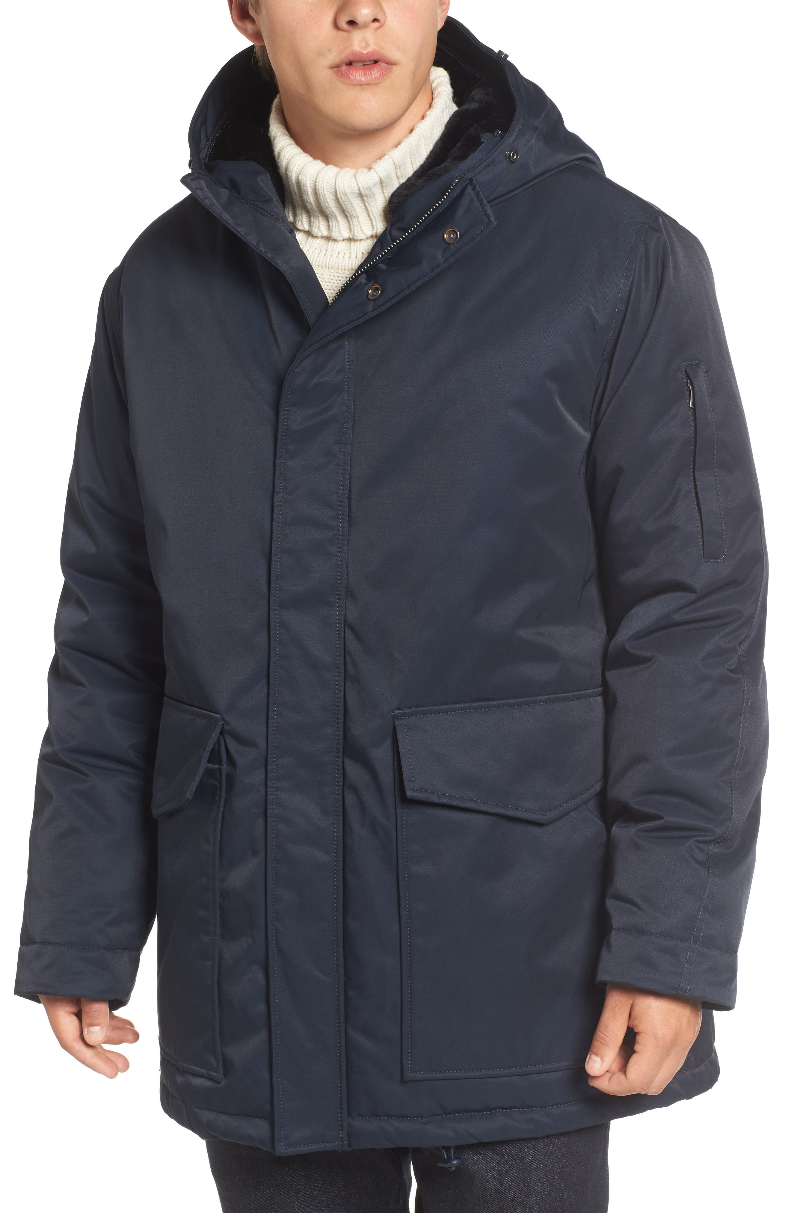 Bystander Hooded Parka with Faux Fur Trim,                             Alternate thumbnail 4, color,                             Marine Blue