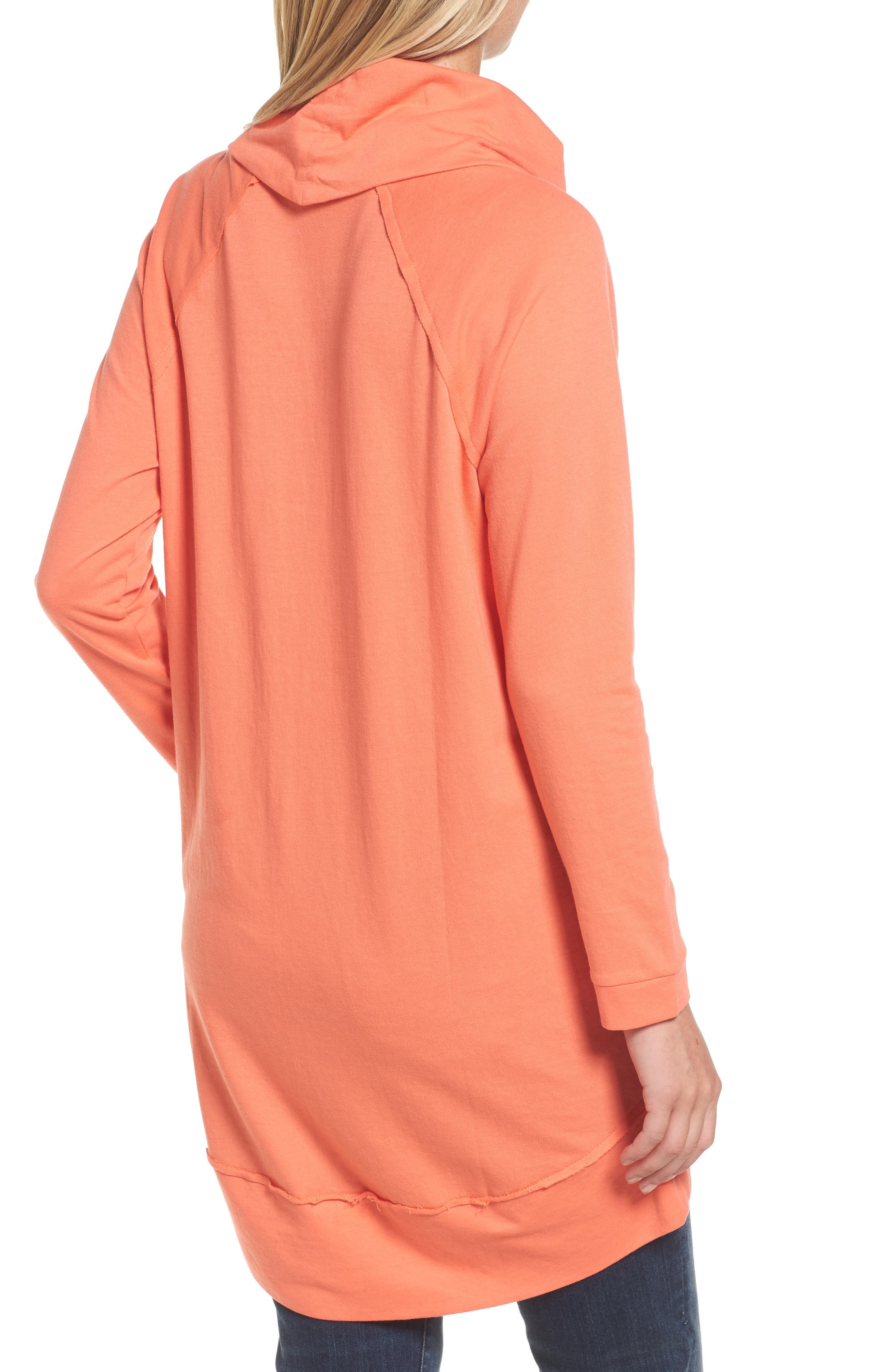 Cowl Neck Tunic Sweatshirt,                             Alternate thumbnail 2, color,                             Coral Sea