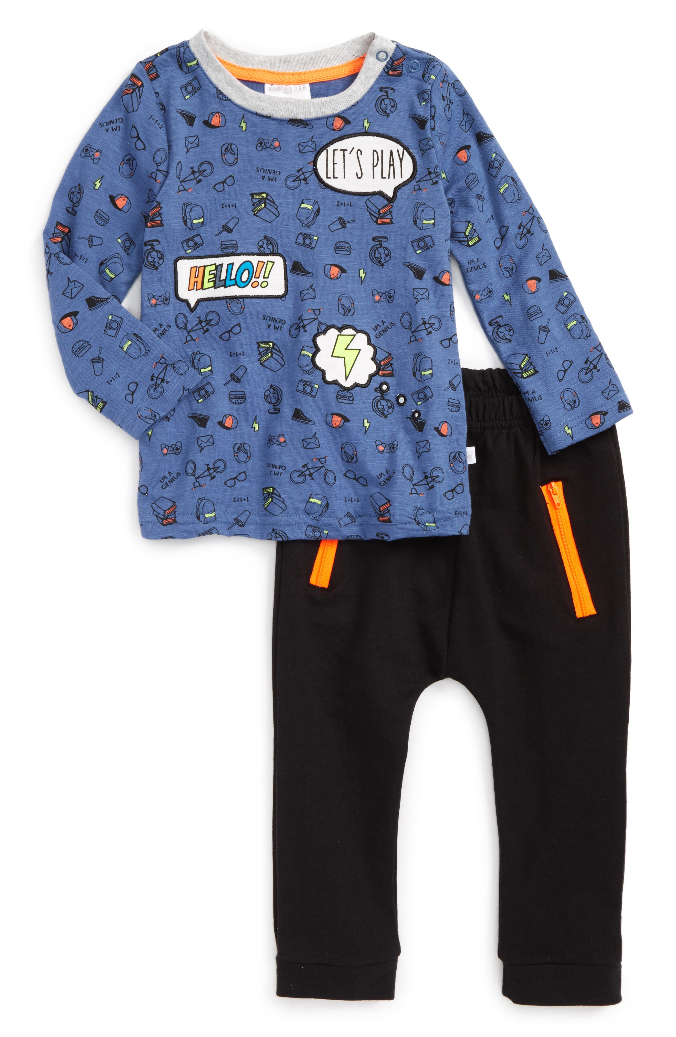 Main Image - Rosie Pope Word Bubble Appliqué Shirt & Sweatpants Set (Baby Boys)