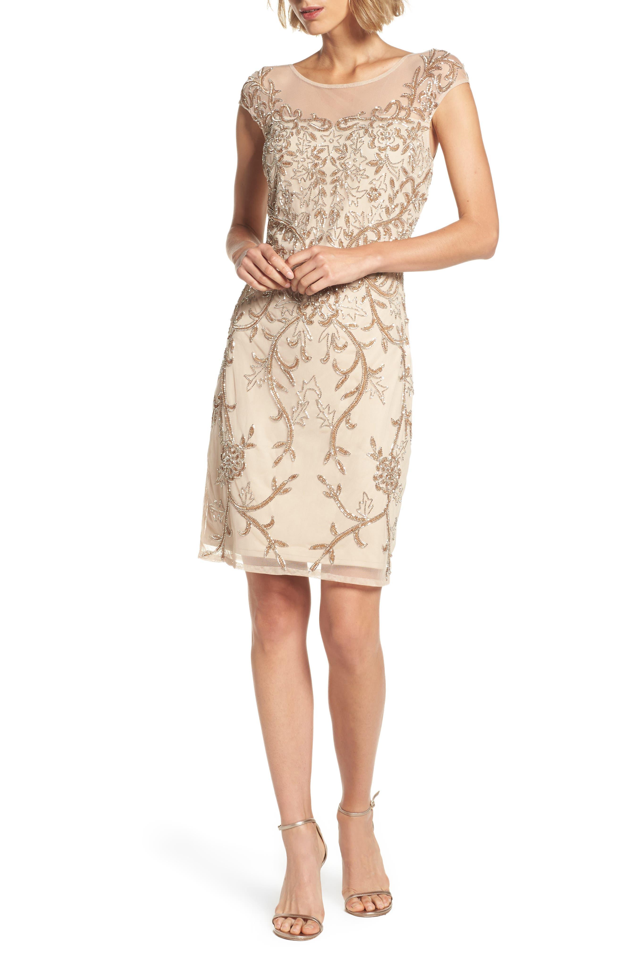 Embellished Illusion Sheath Dress,                         Main,                         color, Nude