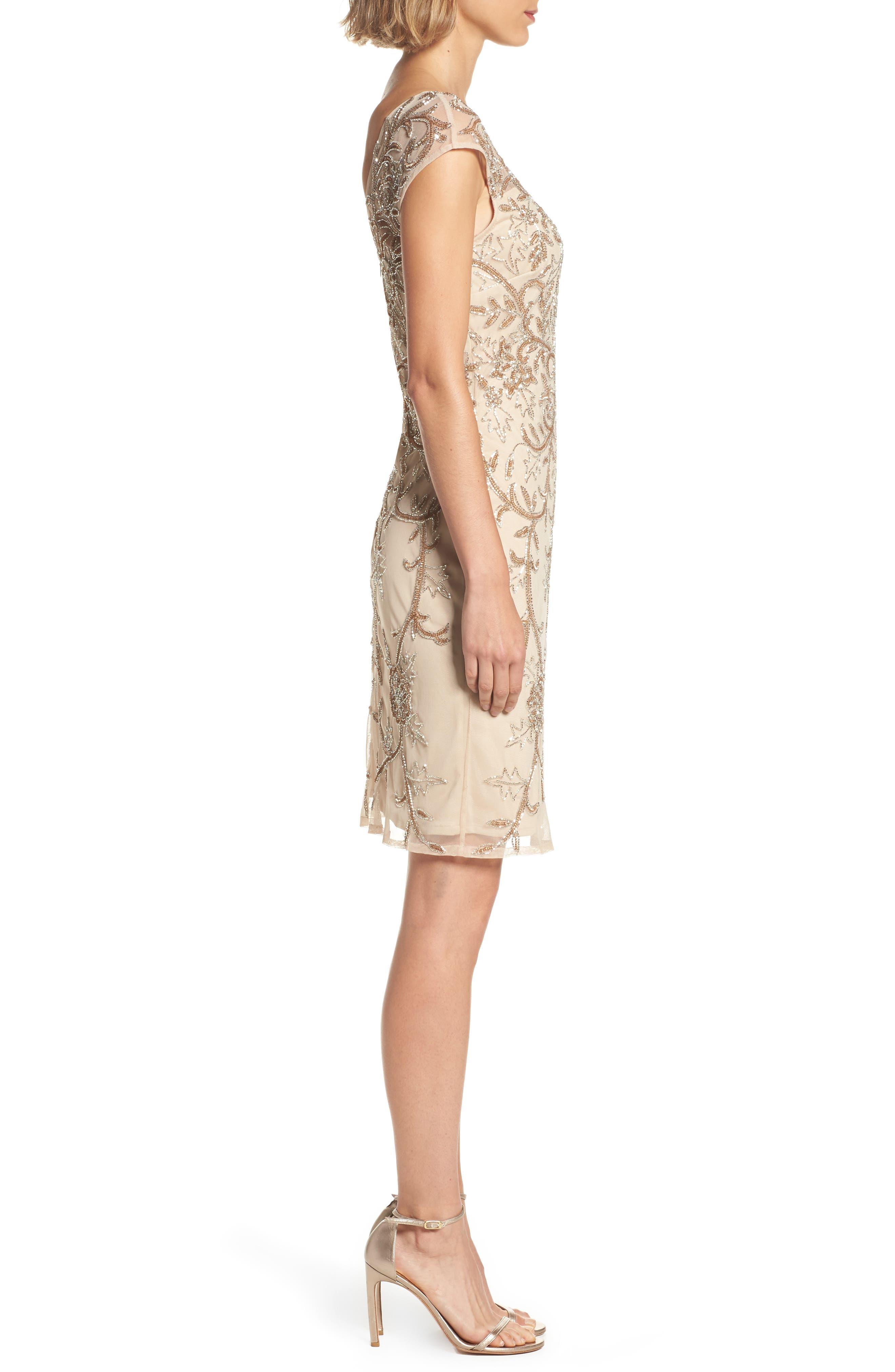 Alternate Image 3  - Pisarro Nights Embellished Illusion Sheath Dress (Regular & Petite)