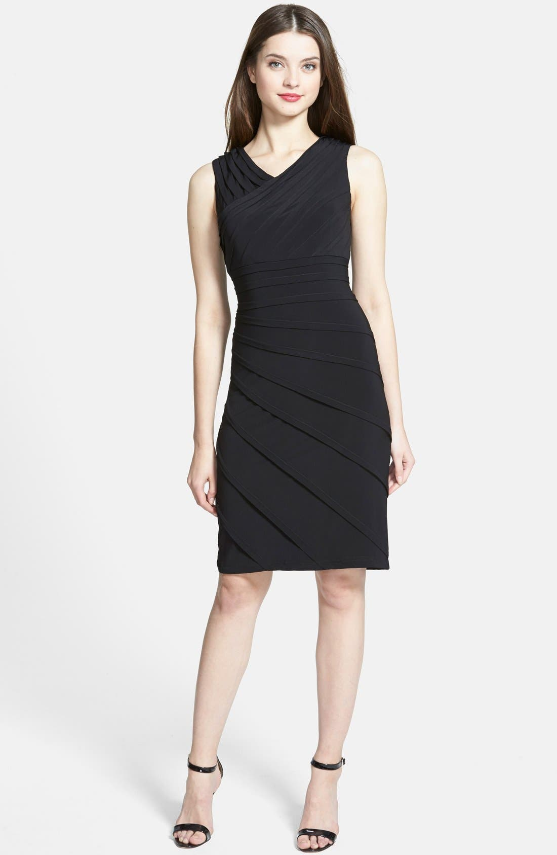 Alternate Image 3  - Adrianna Papell V-Neck Shutter Pleat Sheath Dress