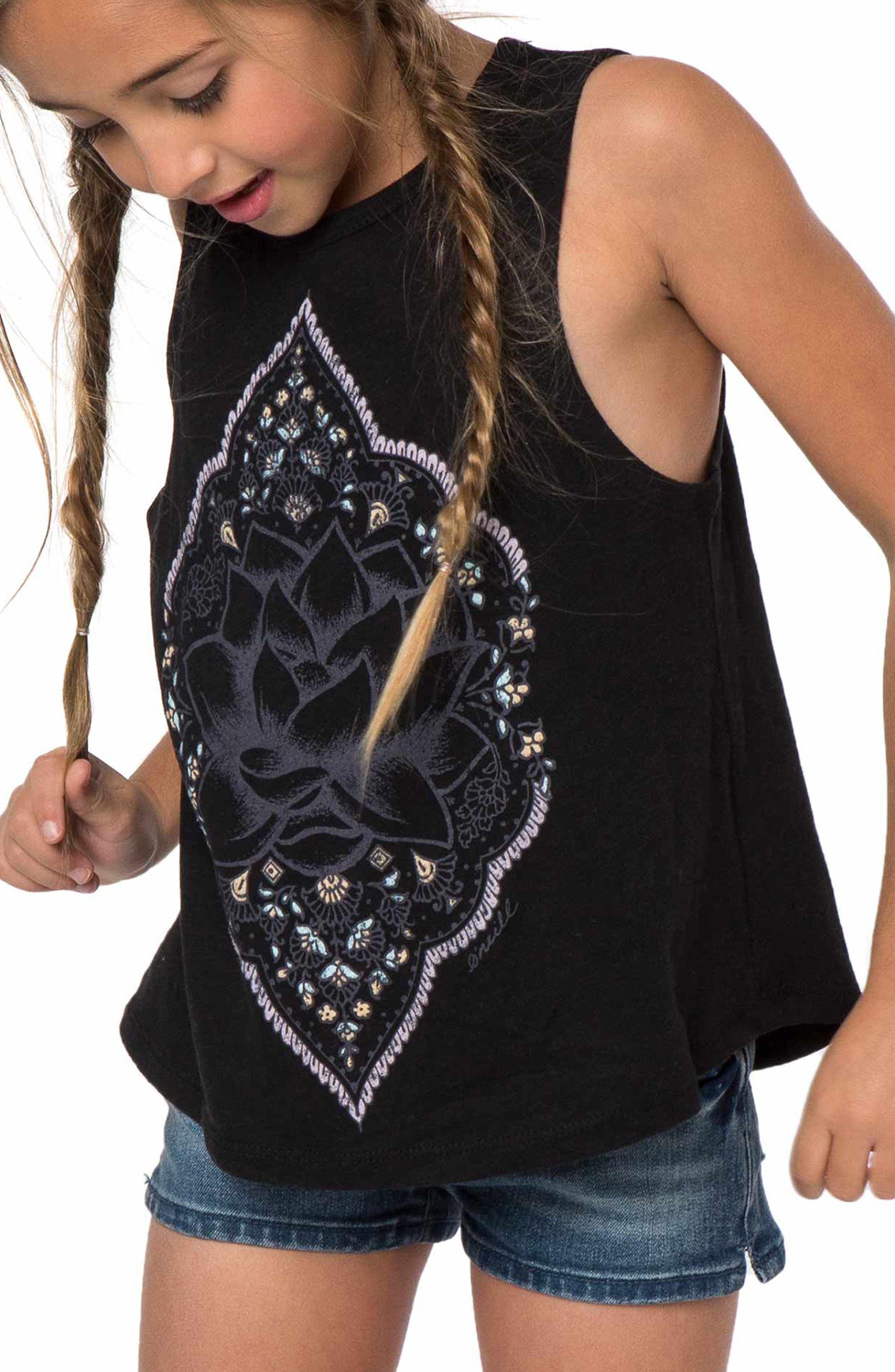 Lotus Dream Graphic Tank,                         Main,                         color, Black
