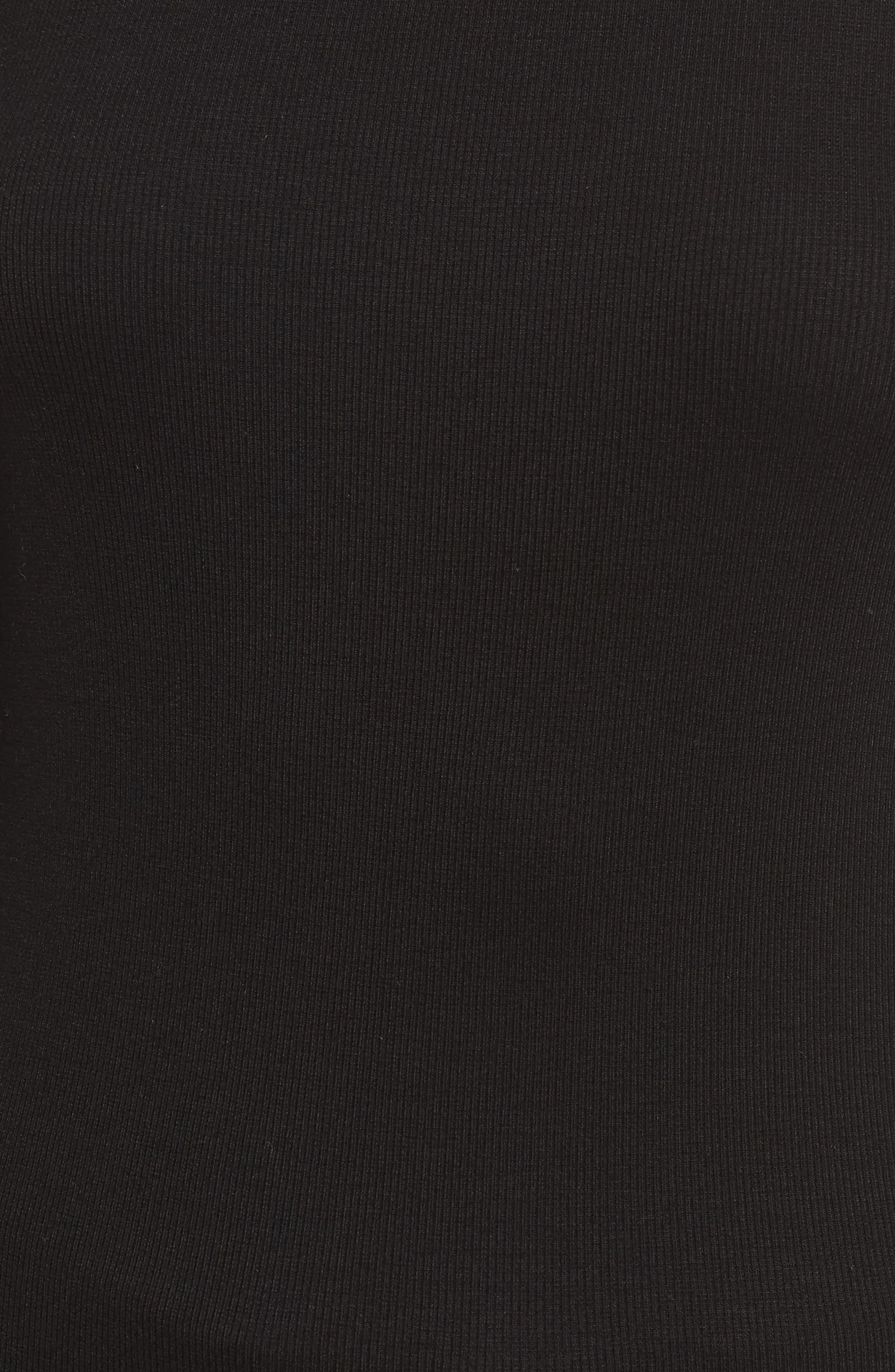 Ribbed Stretch Turtleneck,                             Alternate thumbnail 5, color,                             Black