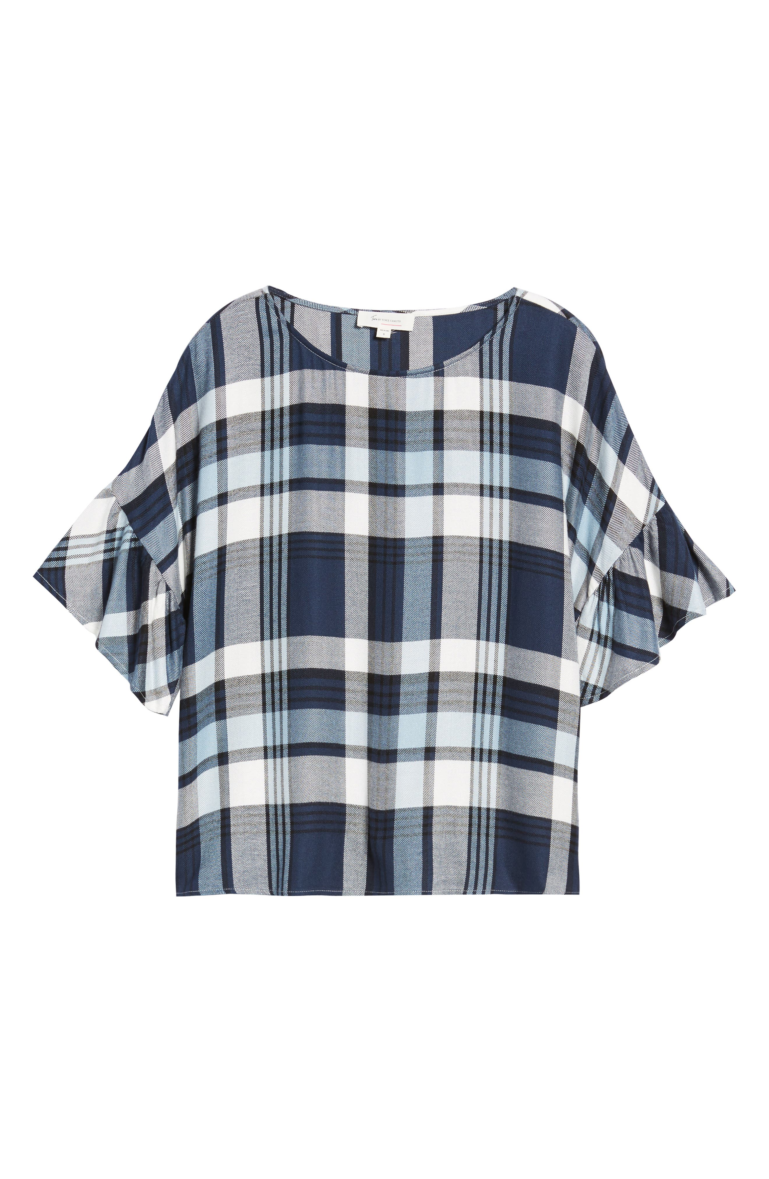 Alternate Image 6  - Two by Vince Camuto Ruffle Sleeve Plaid Top (Regular & Petite)