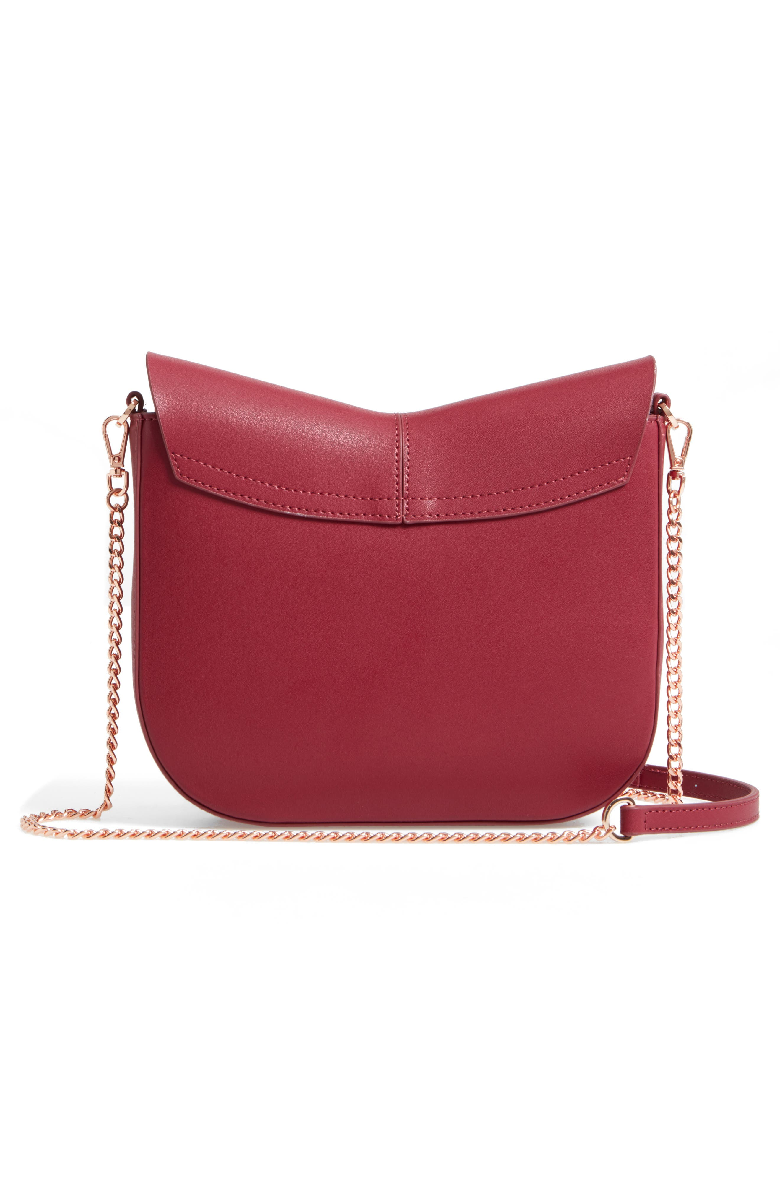 Kittii Cat Leather Crossbody Bag,                             Alternate thumbnail 3, color,                             Oxblood