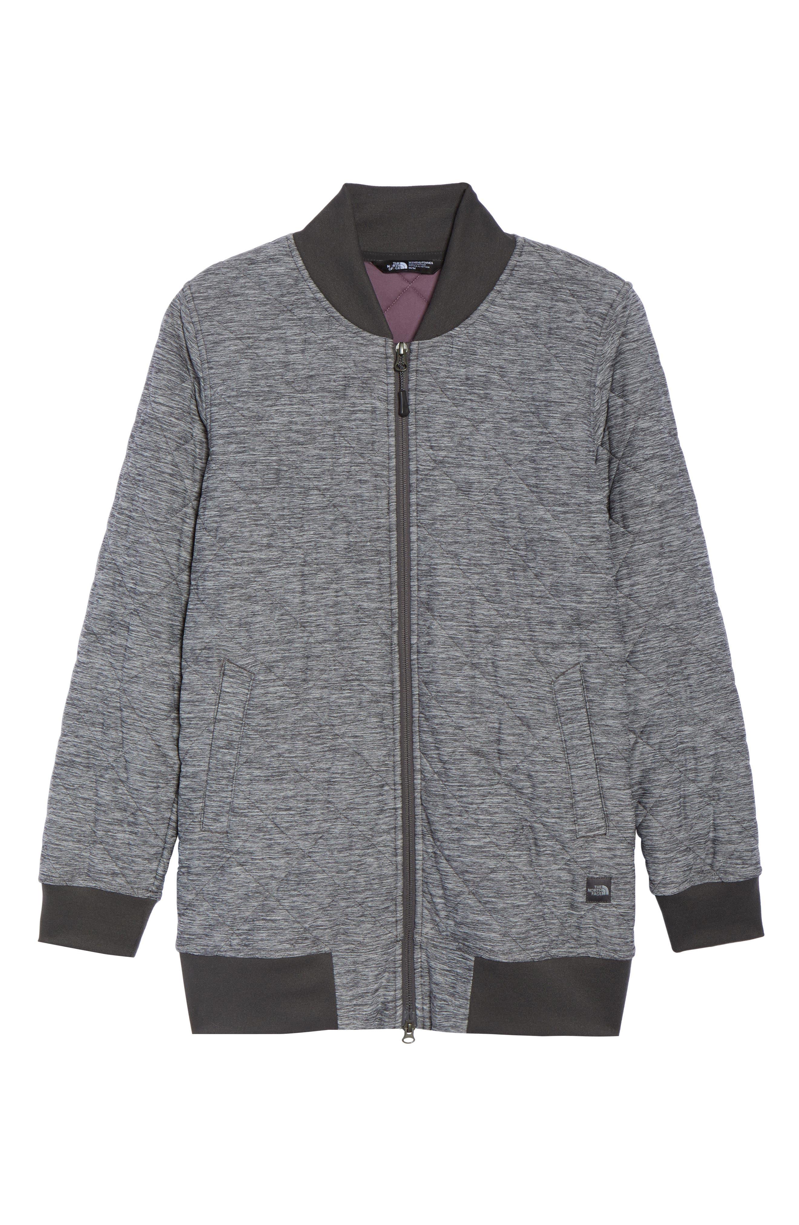 Mod Insulated Knit Jacket,                             Alternate thumbnail 8, color,                             Tnf Dark Grey Heather