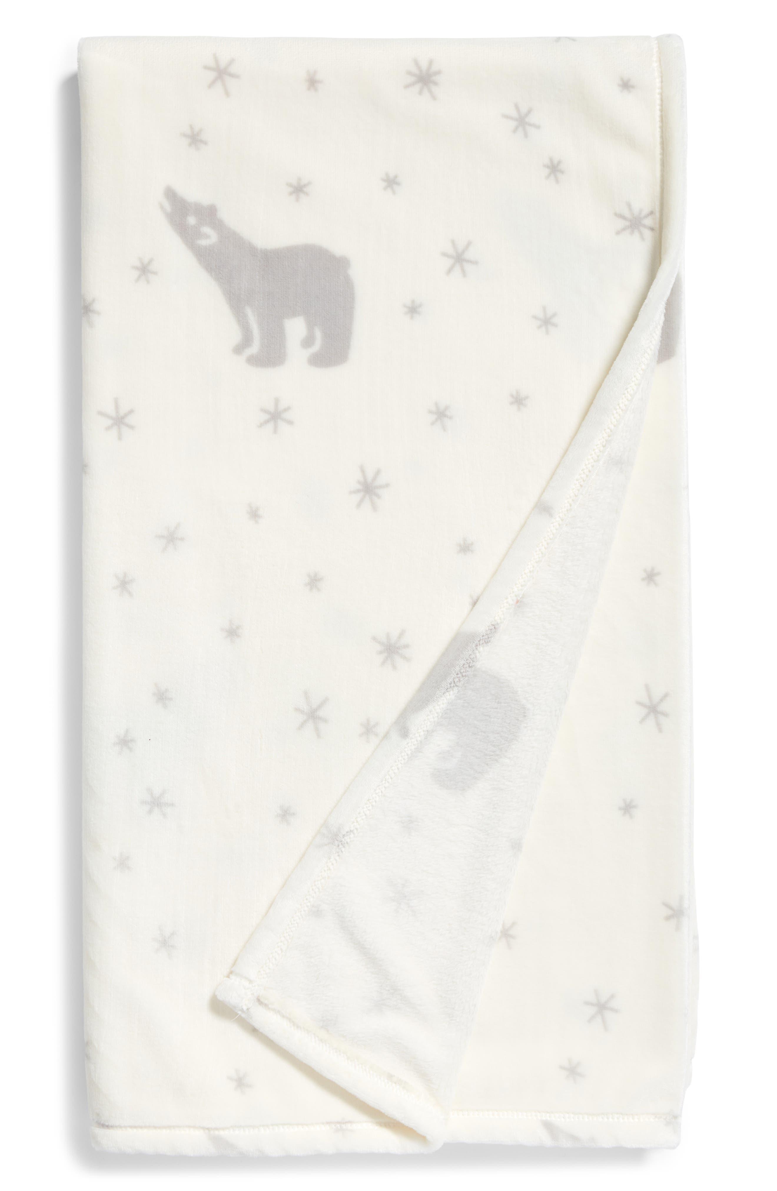 Print Plush Throw Blanket,                         Main,                         color, Ivory Starbear
