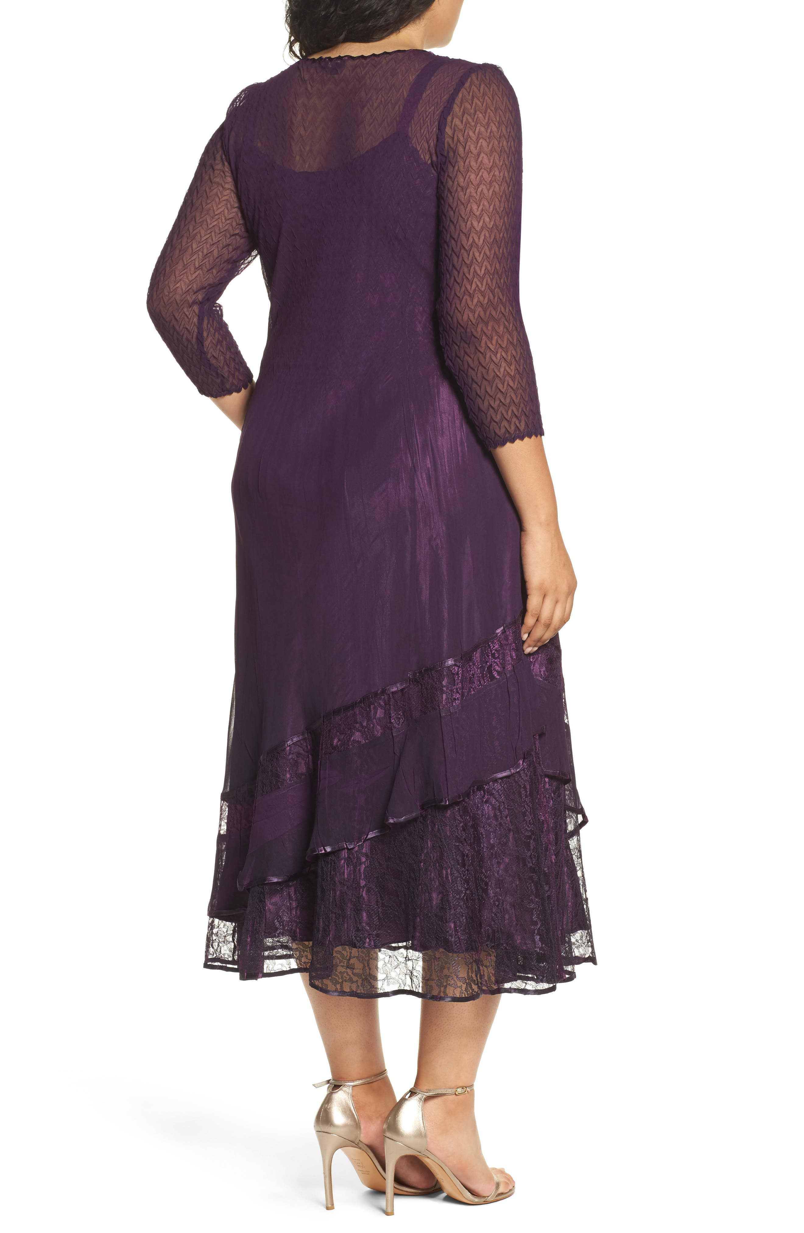 Chiffon Layer Charmeuse Dress,                             Alternate thumbnail 2, color,                             Aubergine