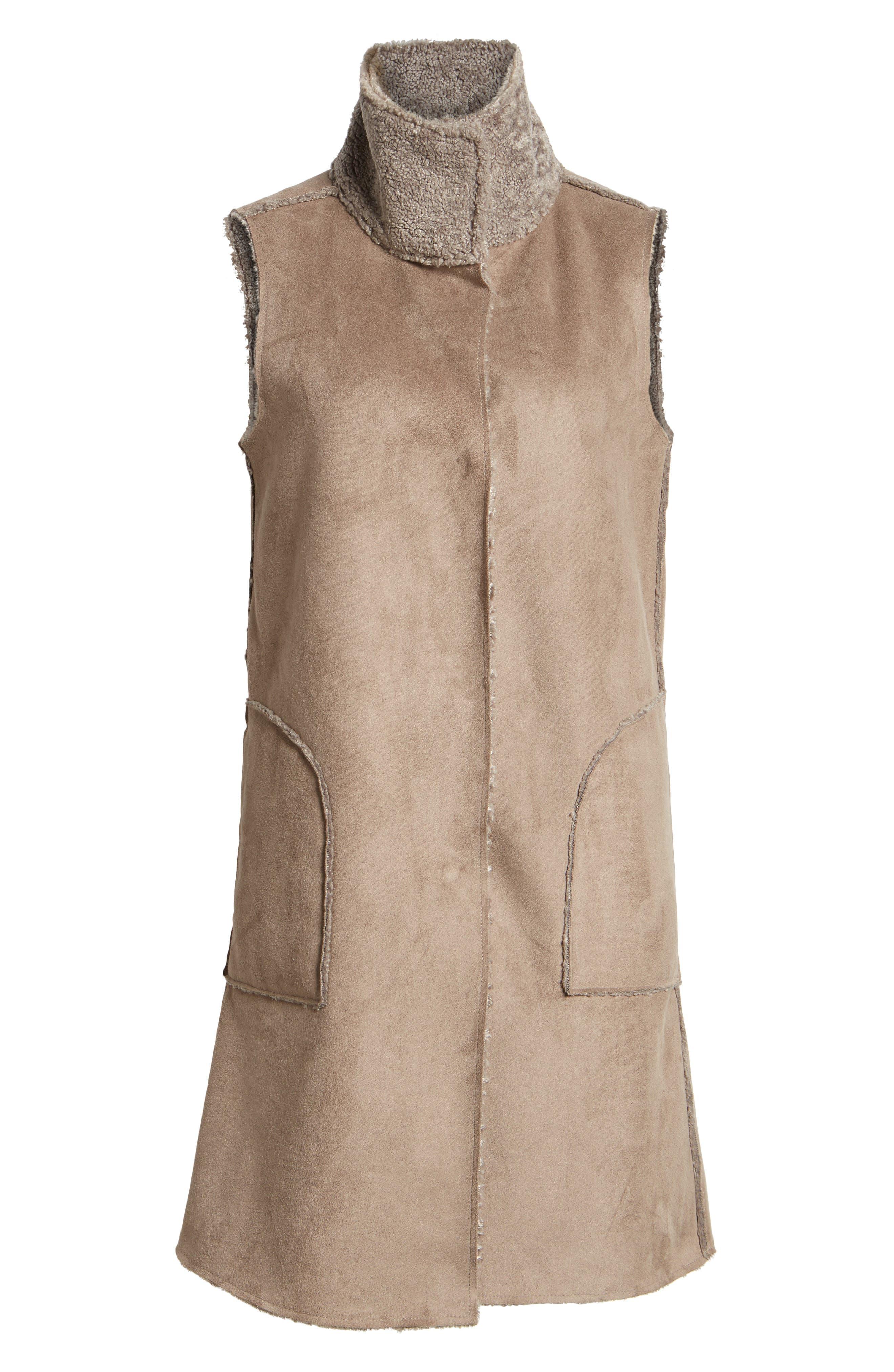 Velvet Reversible Faux Shearling Vest,                             Alternate thumbnail 6, color,                             Brown/ Brown