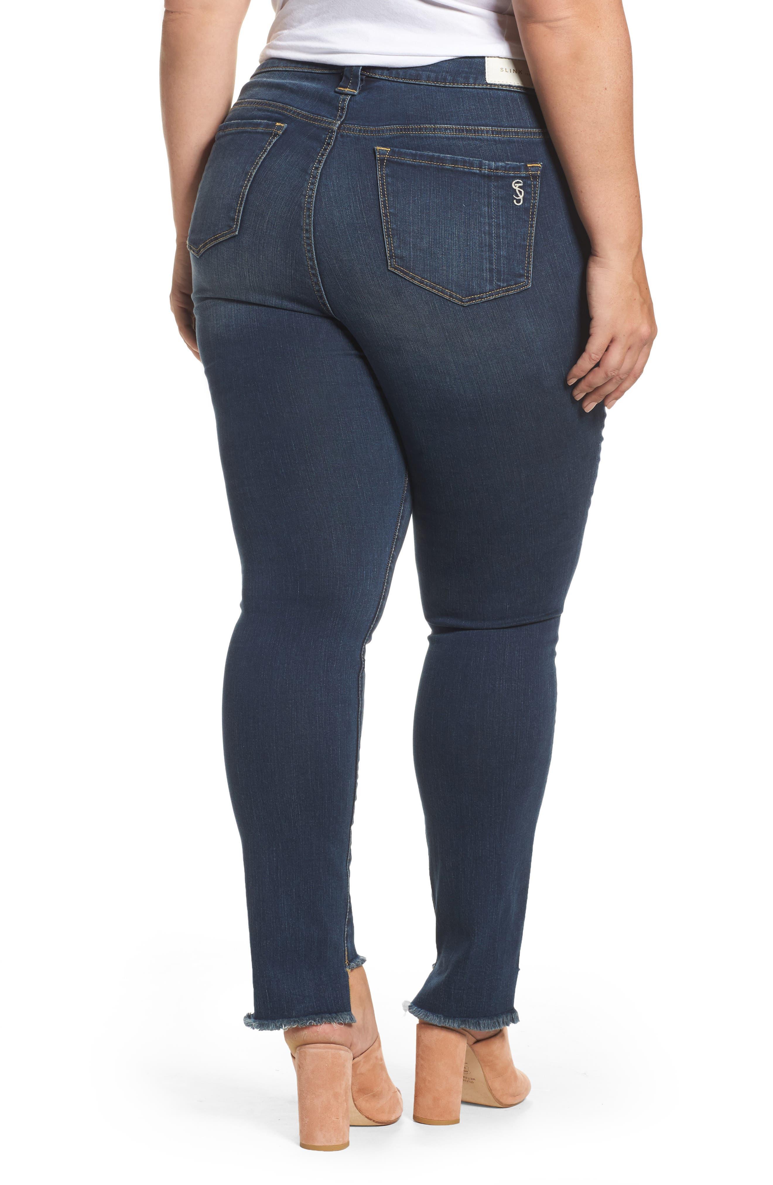 Alternate Image 2  - SLINK Jeans Step Hem Skinny Jeans (Danielle) (Plus Size)