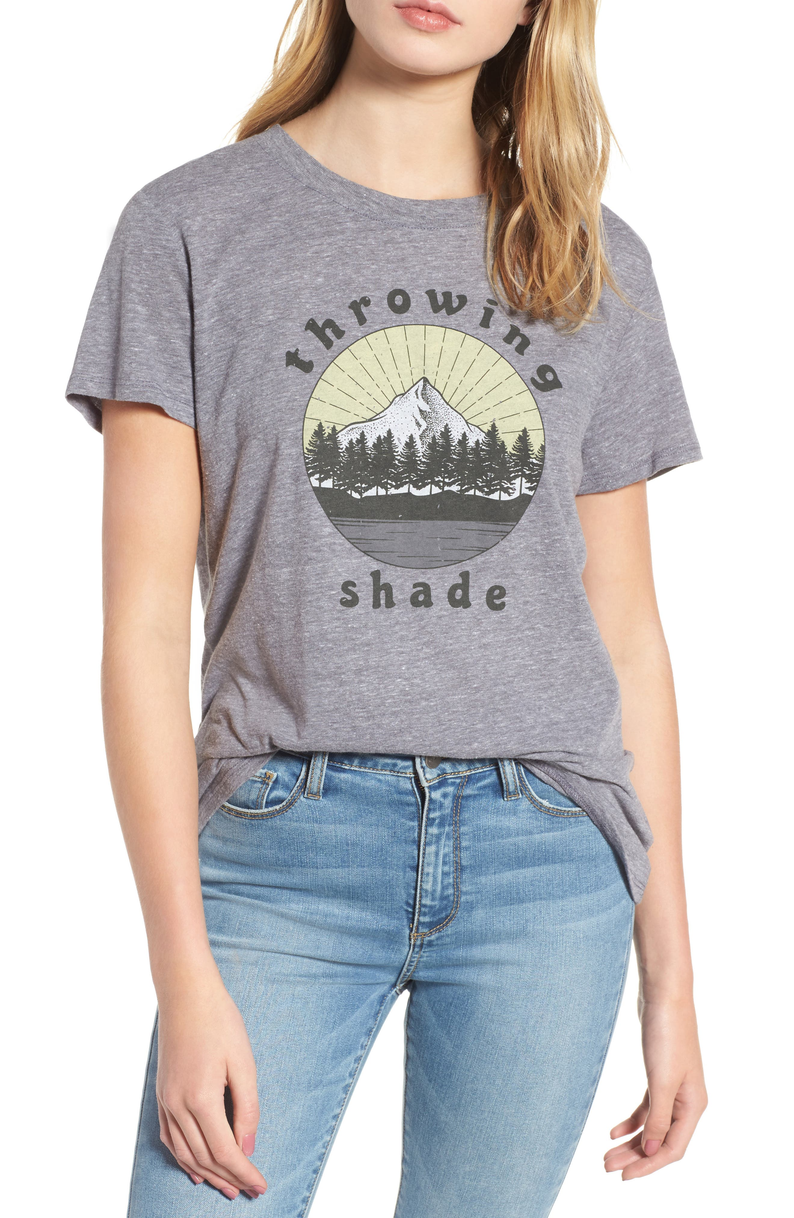 Throwing Shade Graphic Tee,                         Main,                         color, Heather Grey