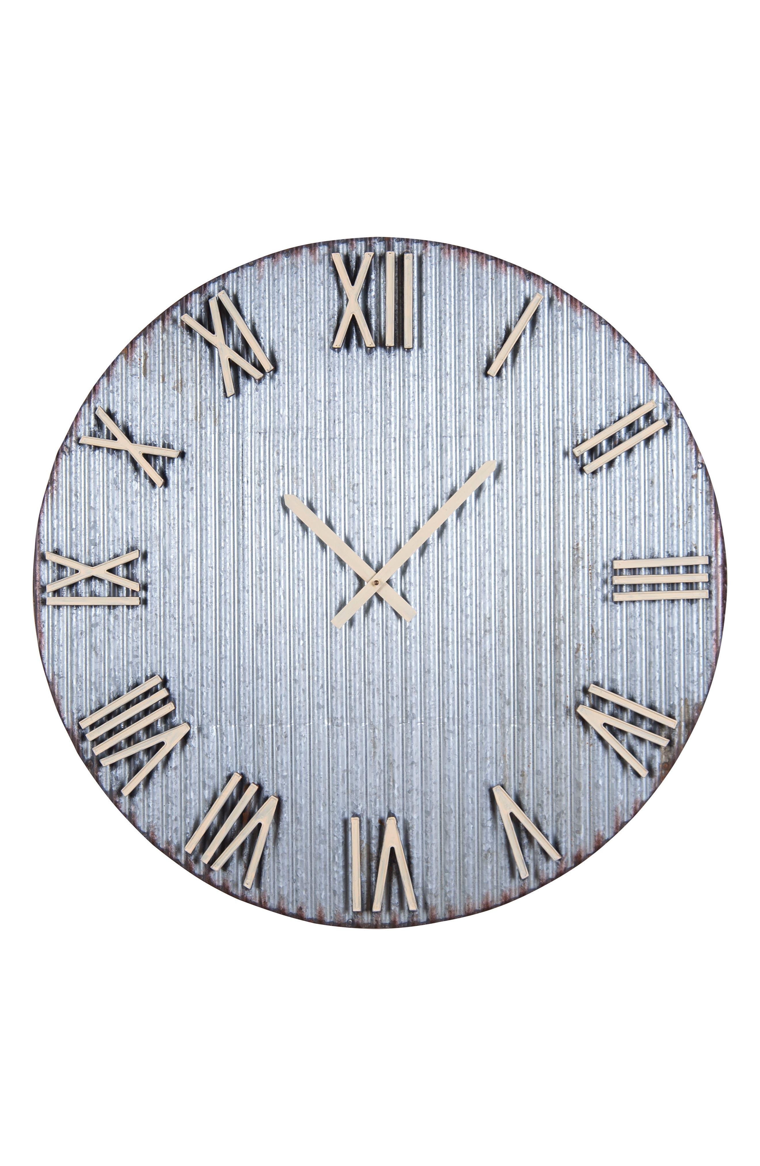 Farmers Corrugated Metal Wall Clock,                         Main,                         color, Metal
