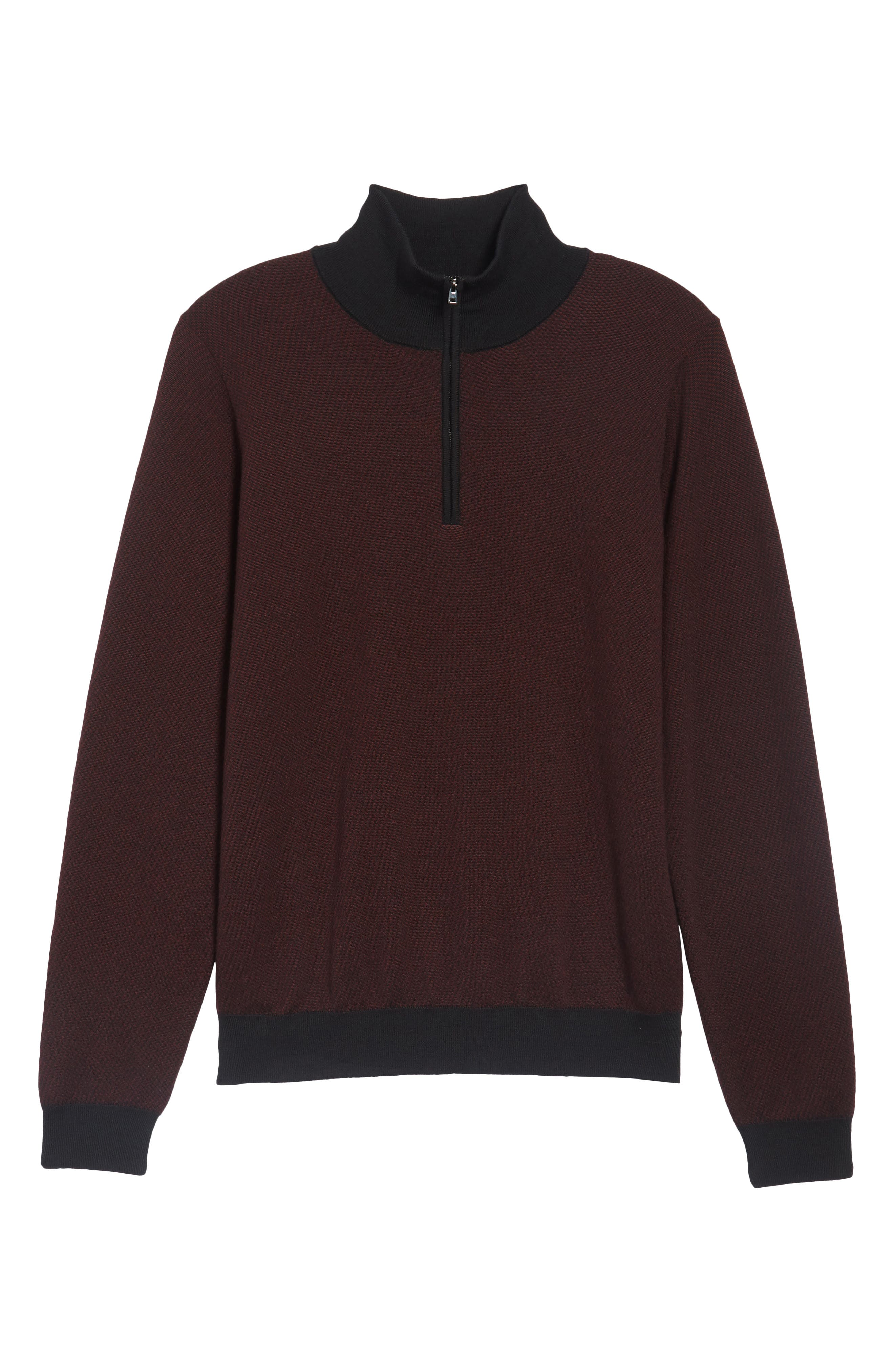 Wool Quarter Zip Mock Neck Sweater,                             Alternate thumbnail 6, color,                             Burgundy