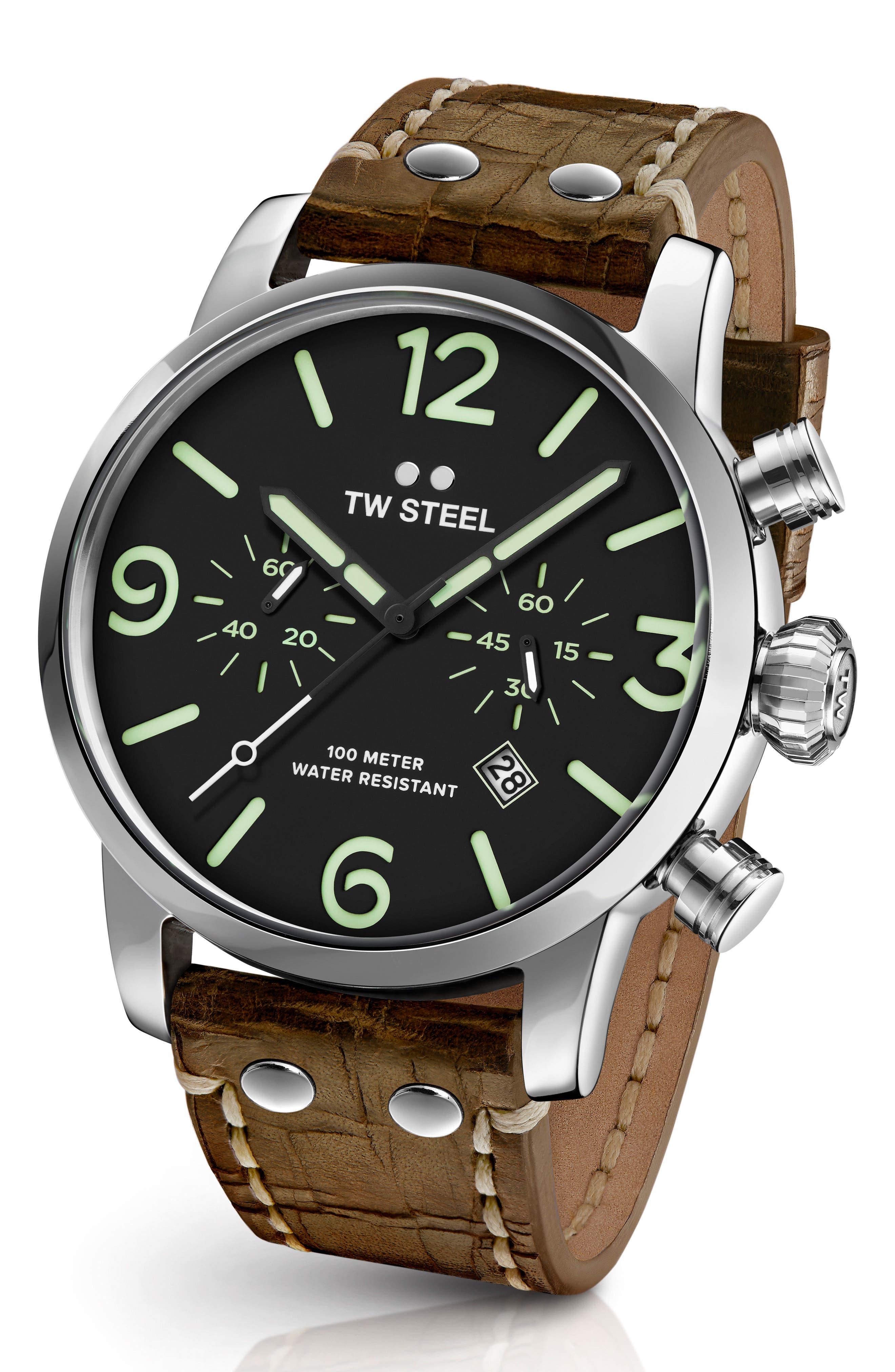 TW Steel Maverick Chronograph Leather Strap Watch, 48mm