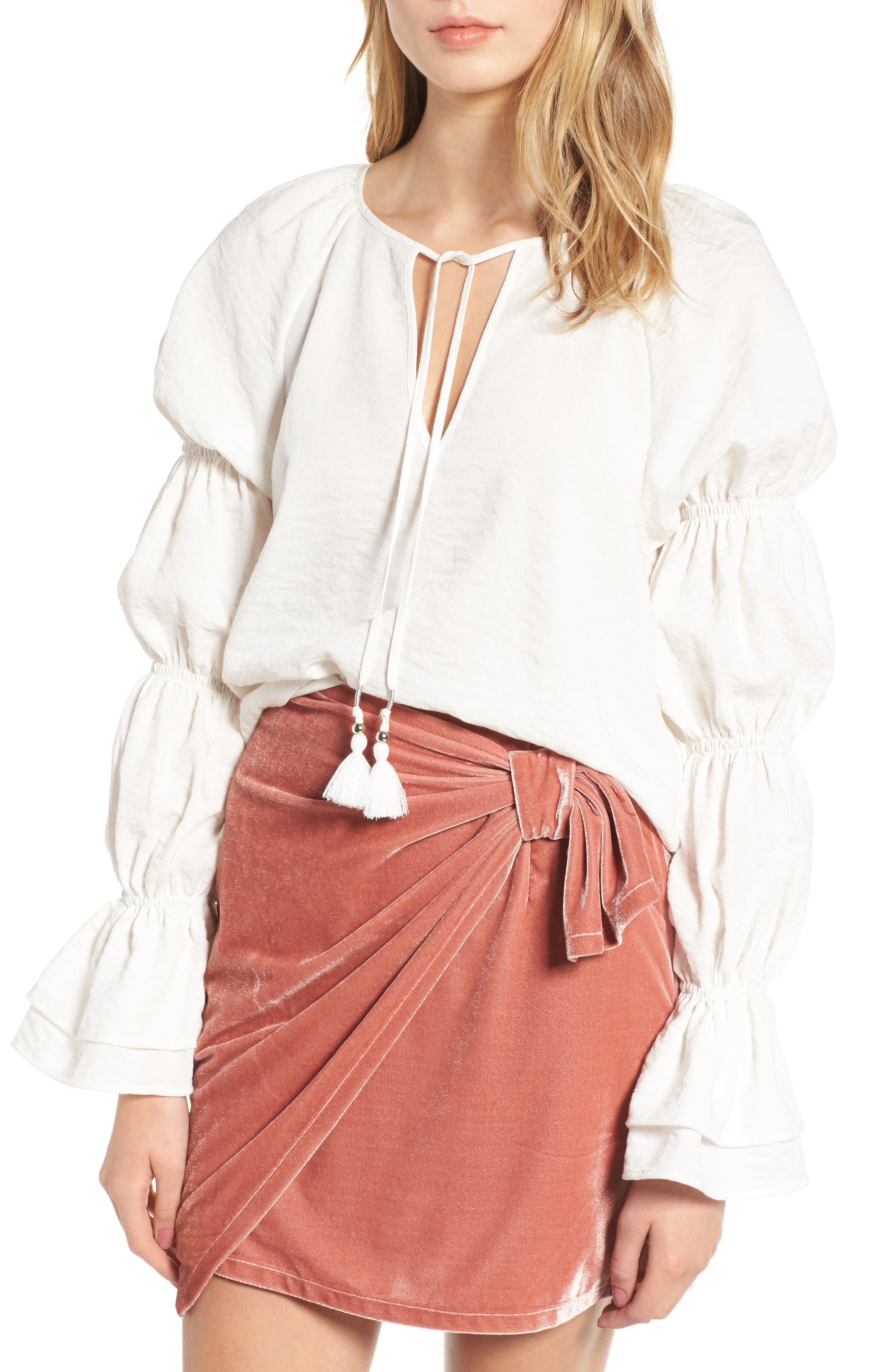 East Puff Sleeve Top,                             Main thumbnail 1, color,                             Ivory