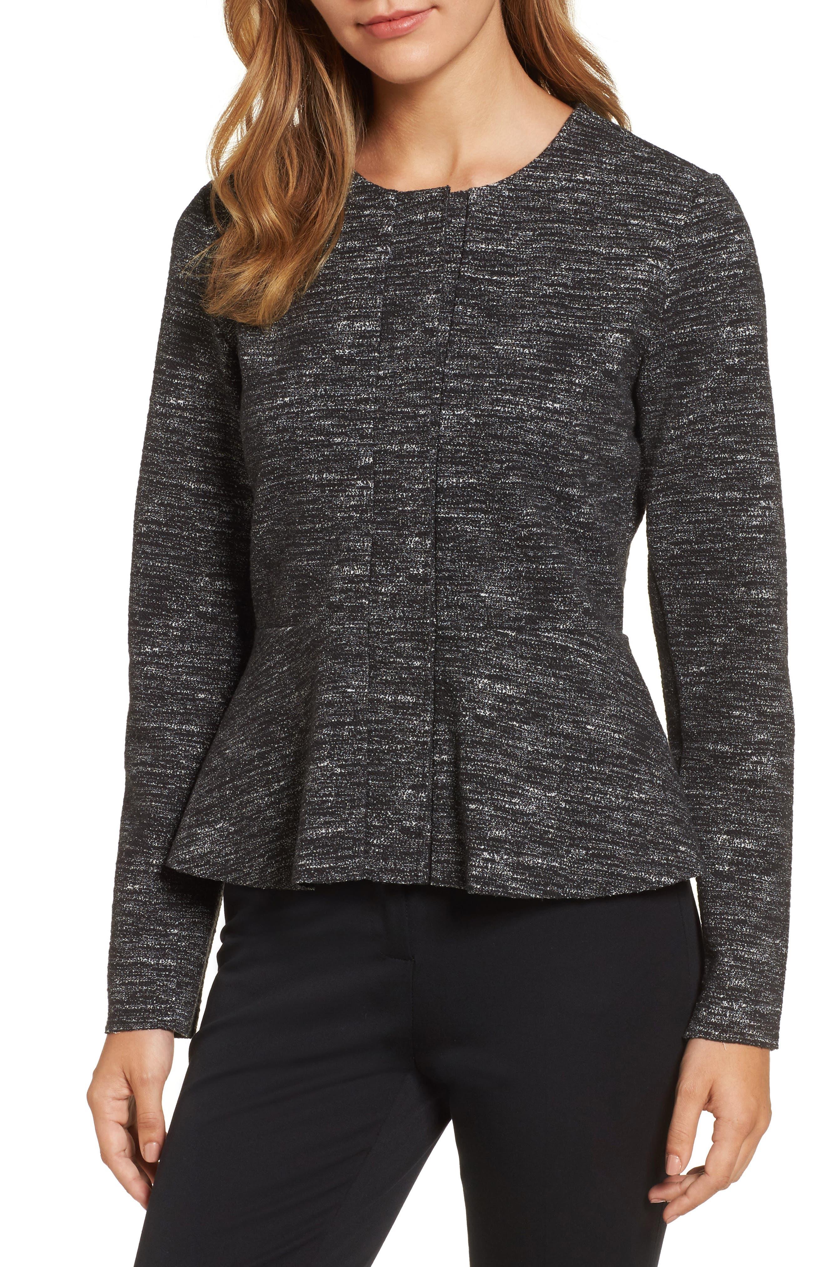 Halogen® Jacquard Peplum Jacket
