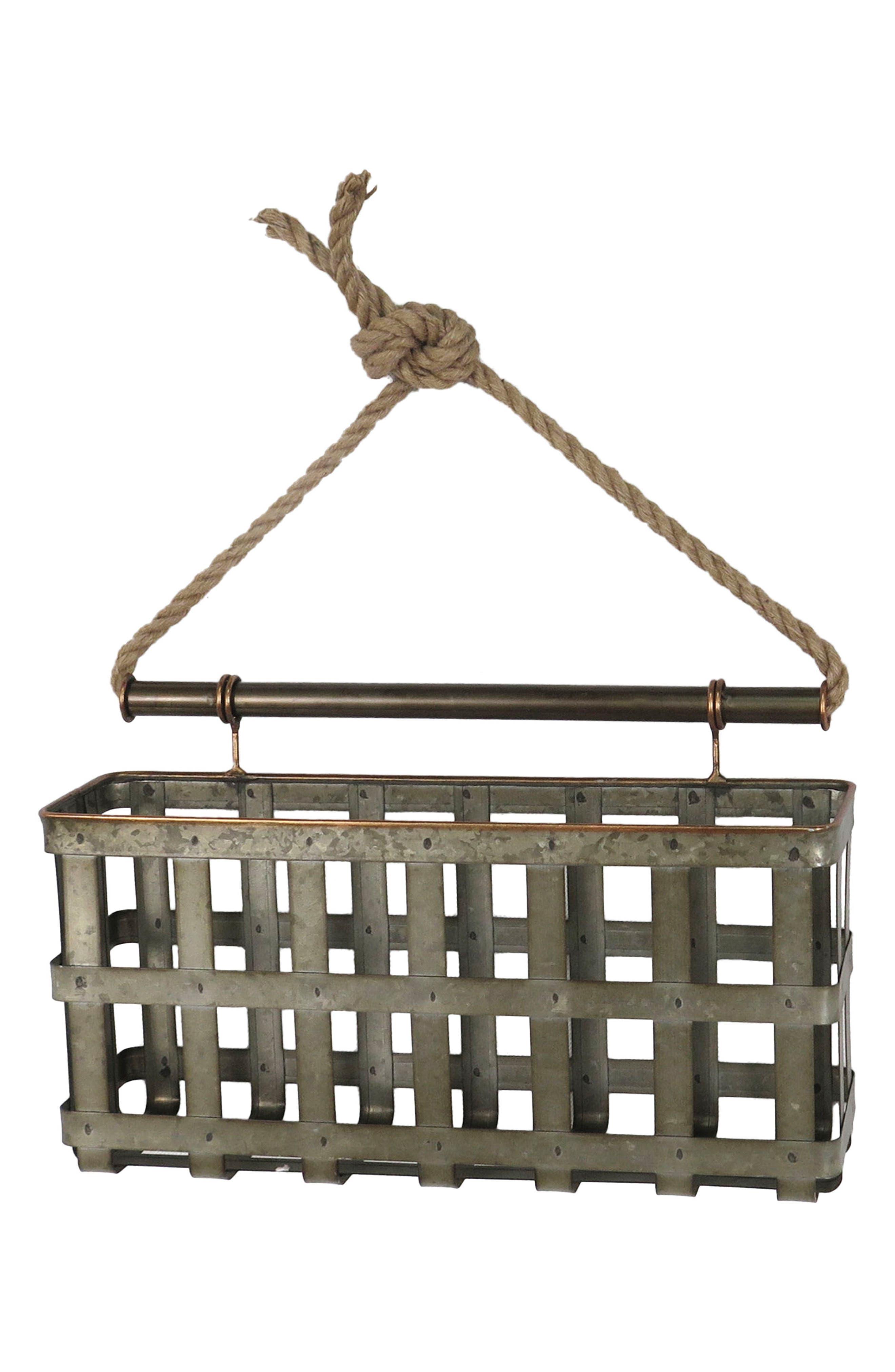 Lattice Wall Basket,                         Main,                         color, Metal/ Rope