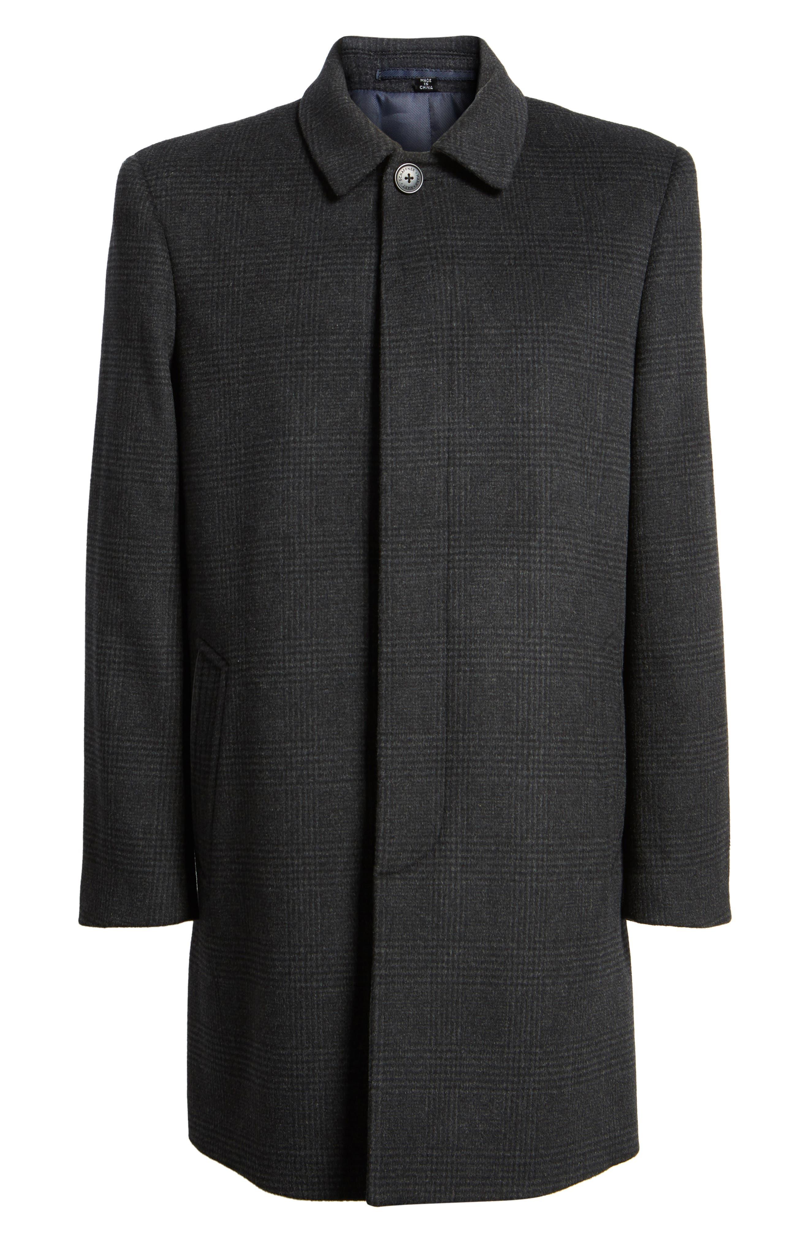 Turner Plaid Wool Blend Topcoat,                             Alternate thumbnail 6, color,                             Dark Charcoal