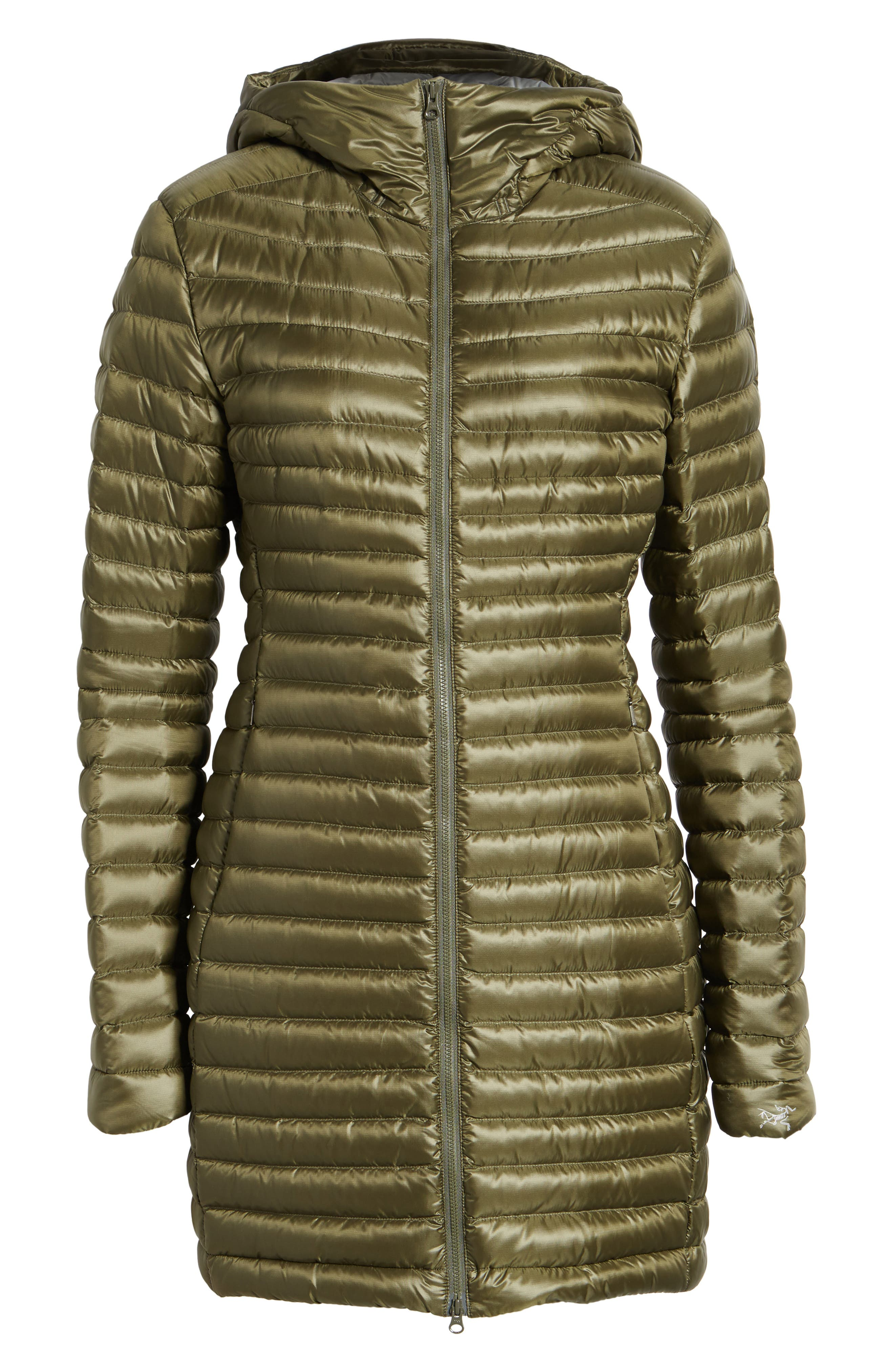 'Nuri' Hooded Water Resistant Down Coat,                             Alternate thumbnail 5, color,                             Banyen
