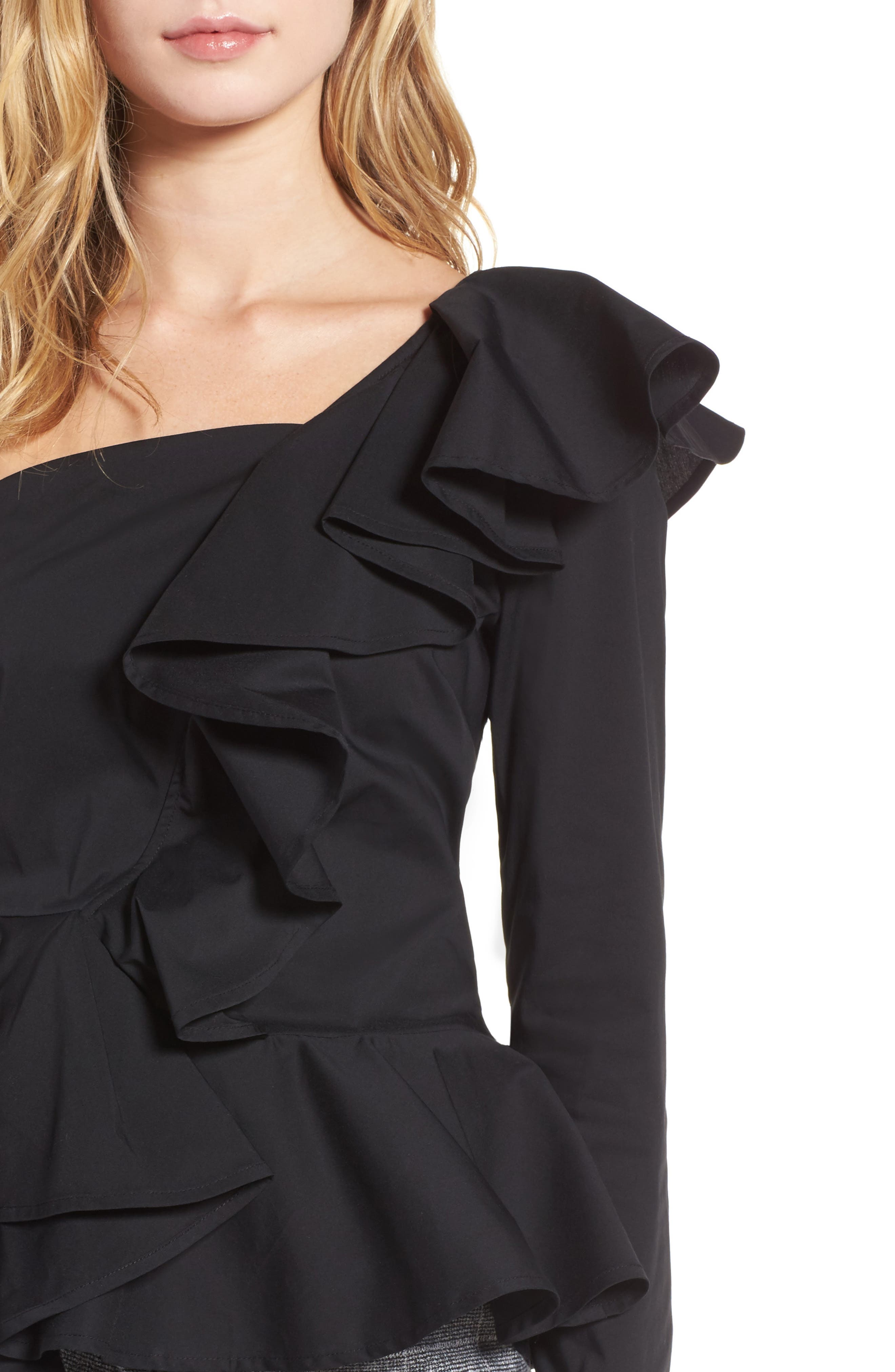 Ruffle One-Shoulder Blouse,                             Alternate thumbnail 4, color,                             Black