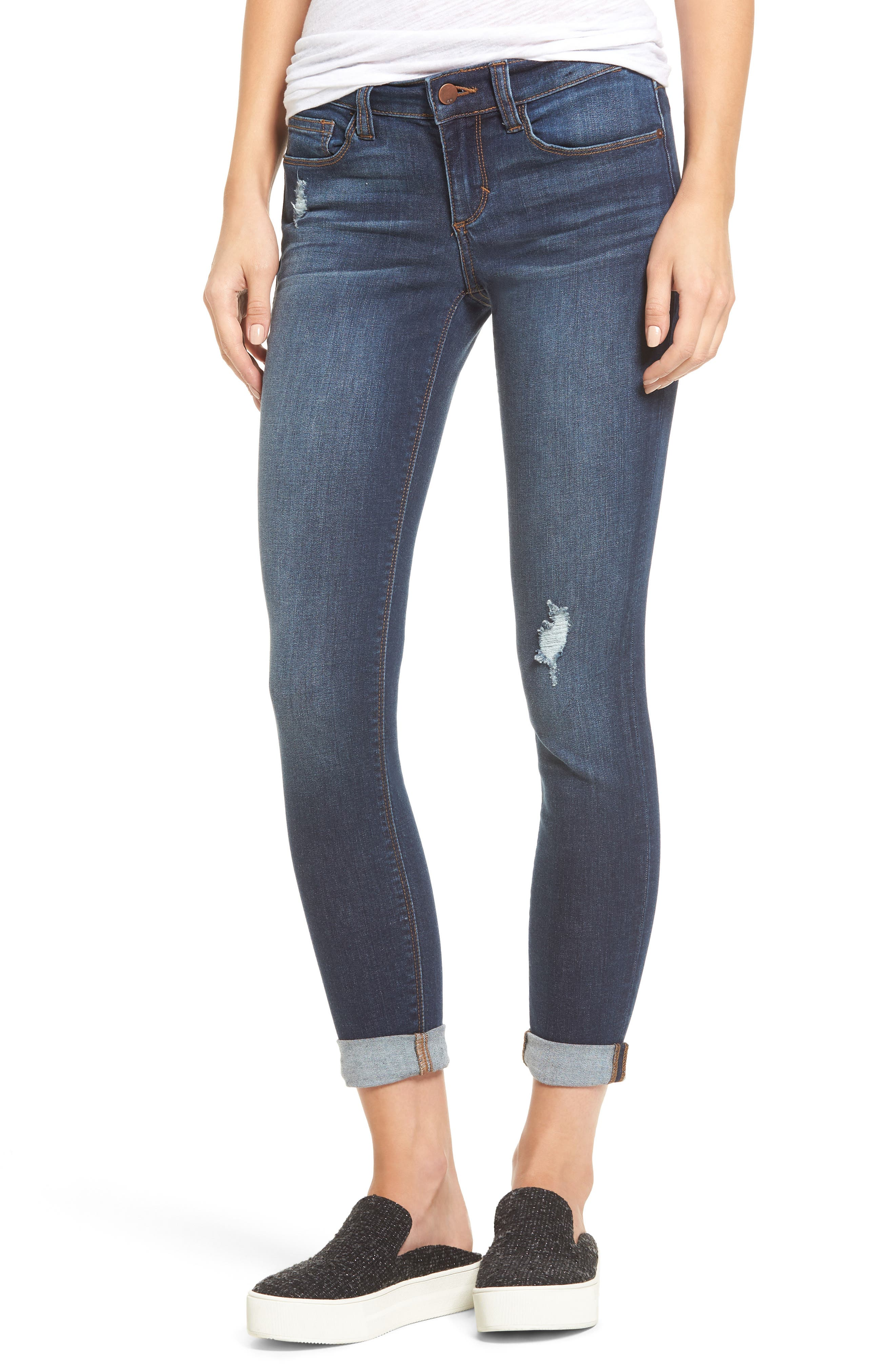 Roll Cuff Skinny Jeans,                         Main,                         color, Dark Wash