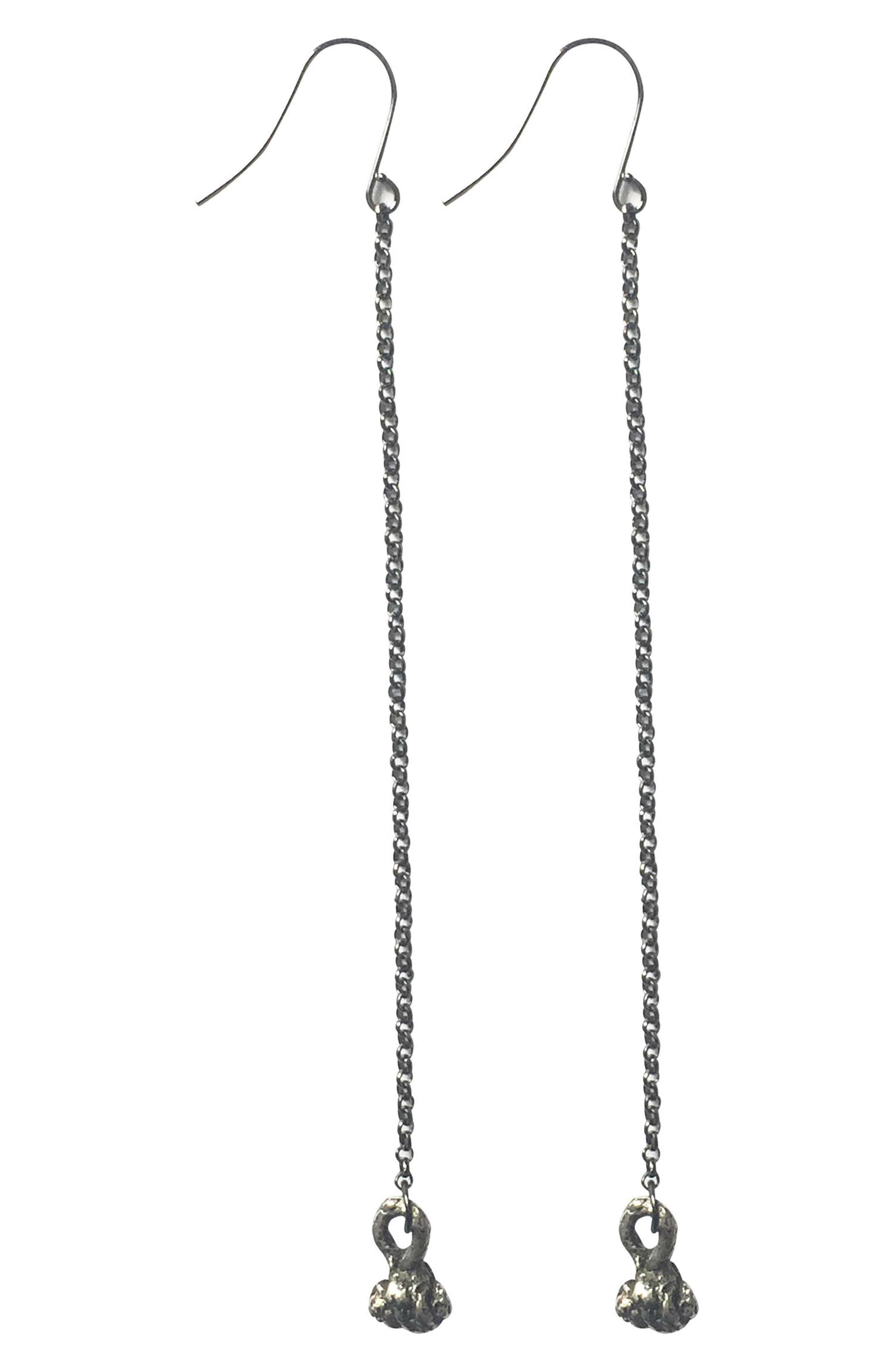Chain Drop Earrings,                             Main thumbnail 1, color,                             Oxidized Silver/ Gunmetal