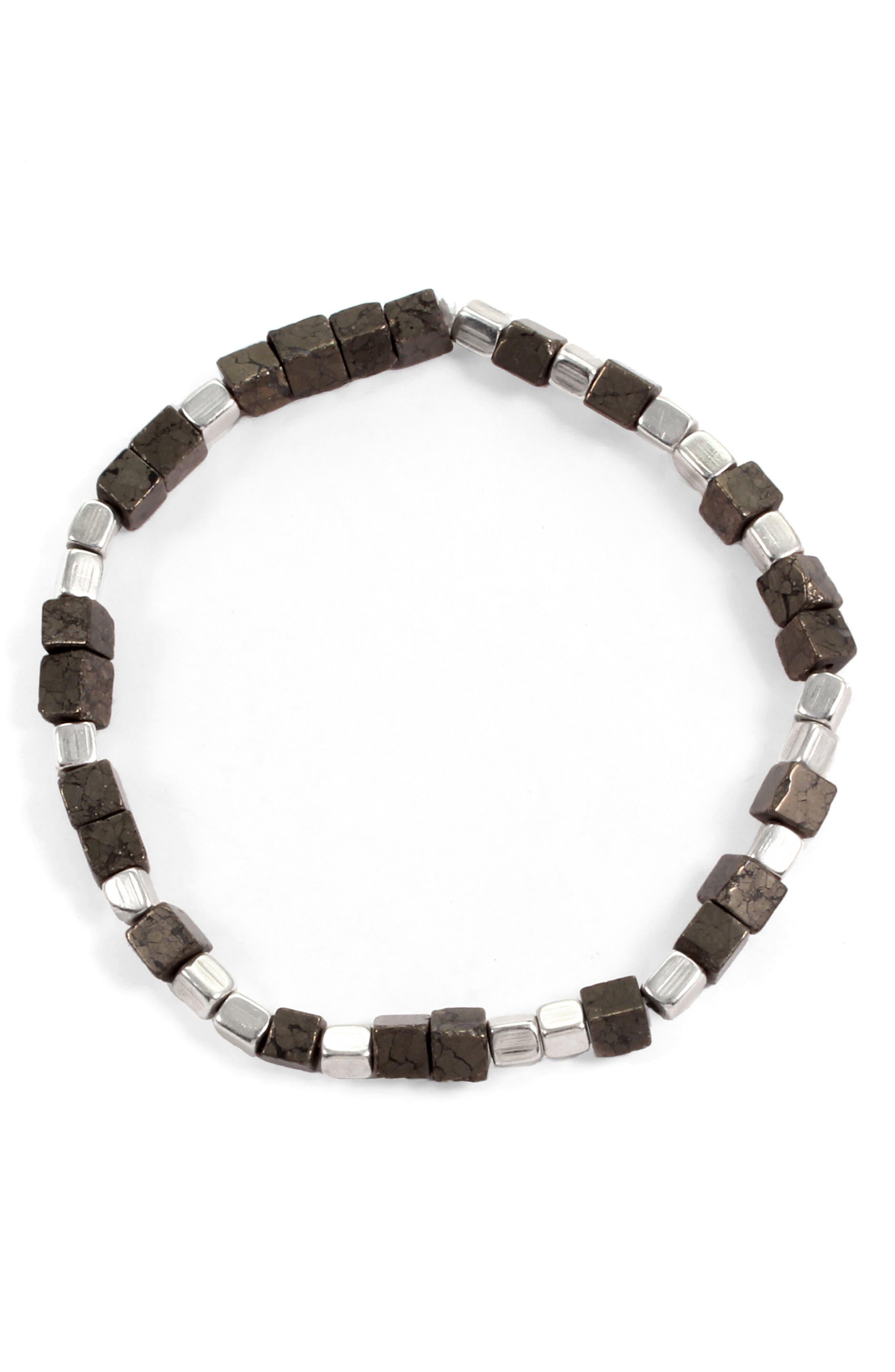Eternal Morse Beaded Bracelet,                         Main,                         color, Silver/ Pyrite