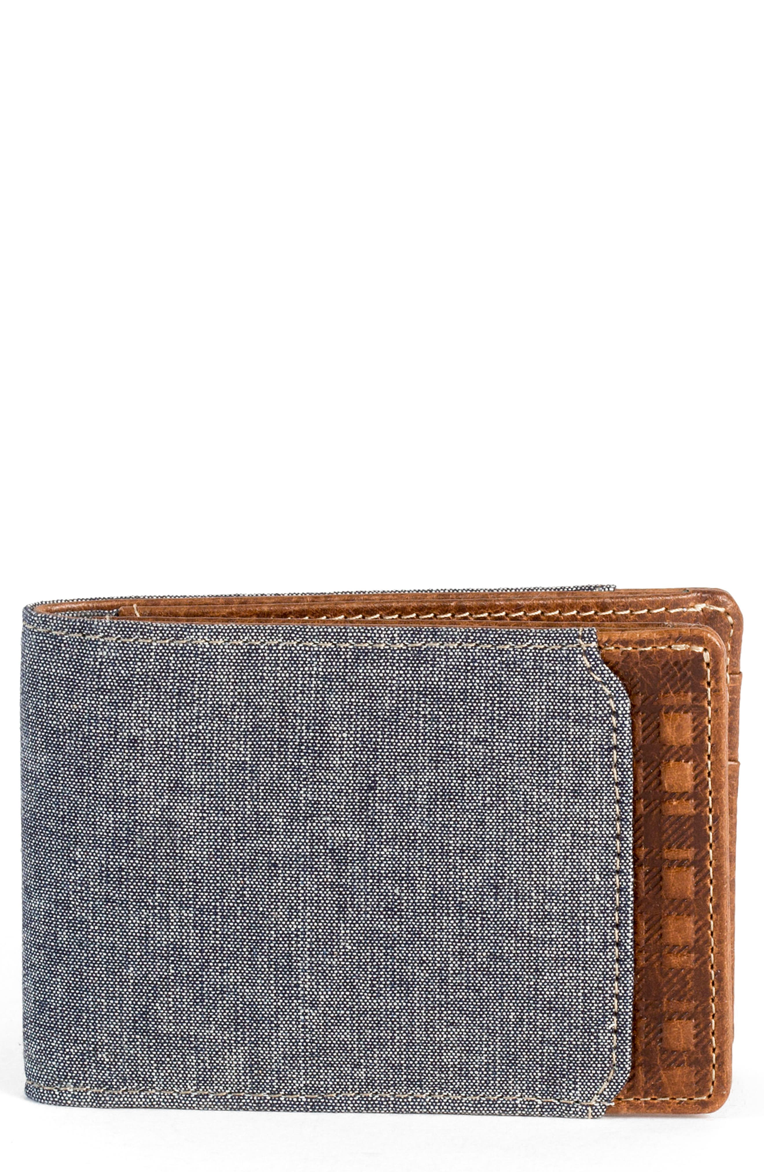 Caleb LTE Wallet,                             Main thumbnail 1, color,                             Chestnut
