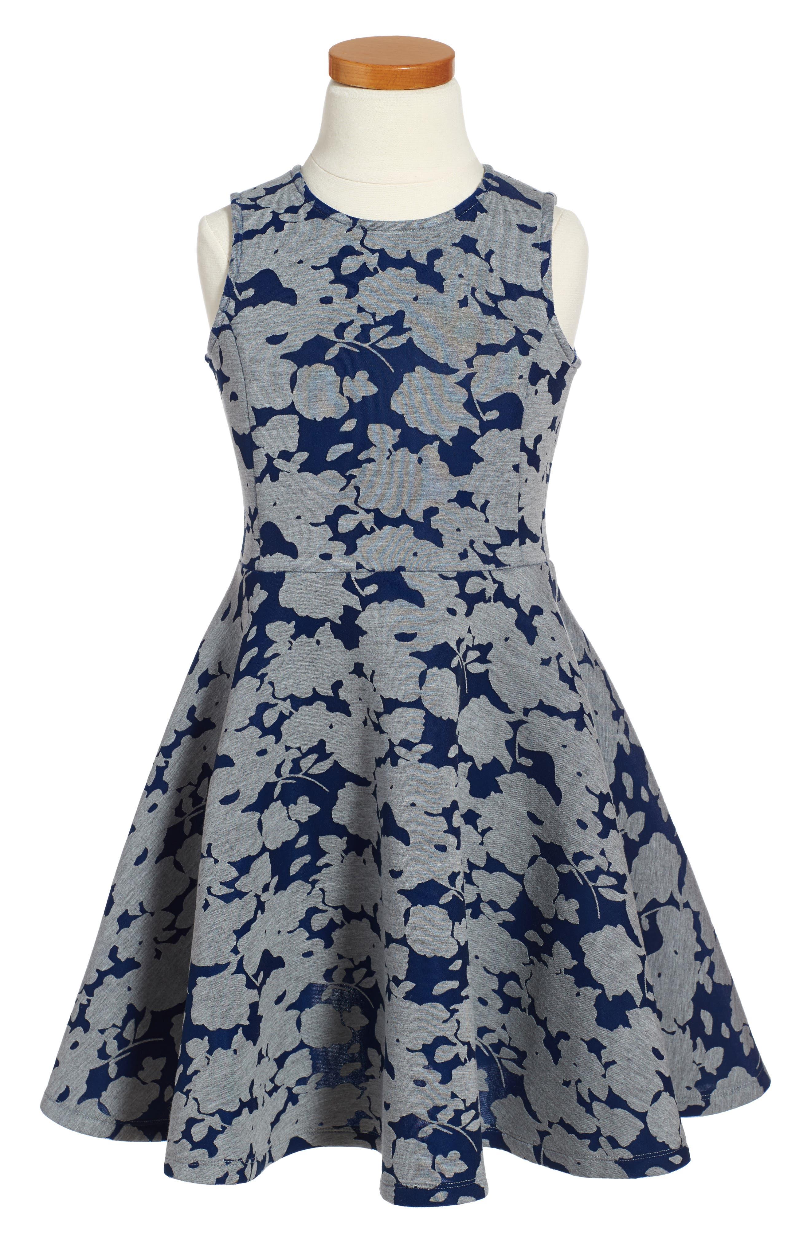 RUBY & BLOOM Floral Print Scuba Skater Dress
