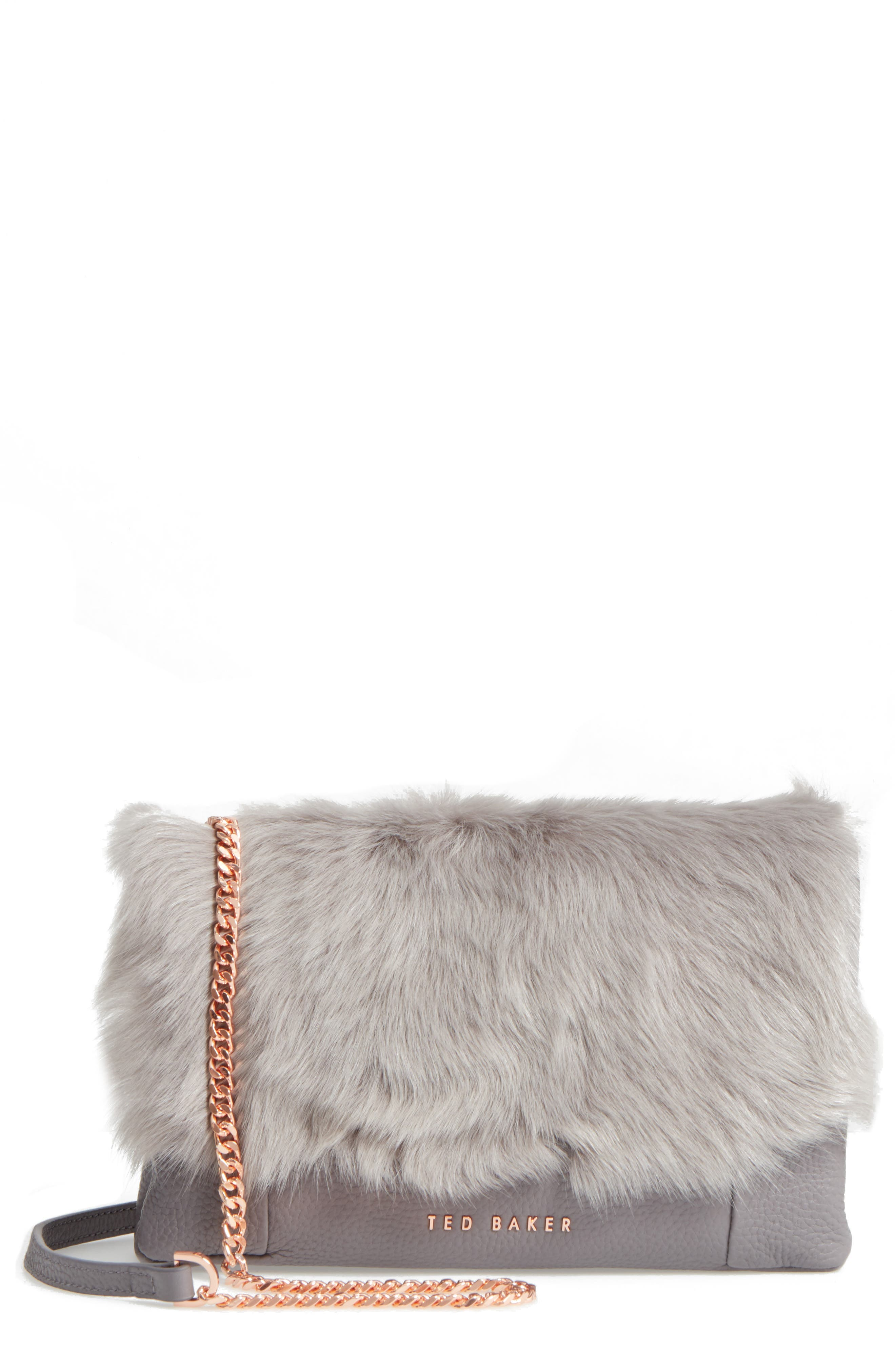 Main Image - Ted Baker London Fuzzi Genuine Shearling & Leather Convertible Crossbody Bag