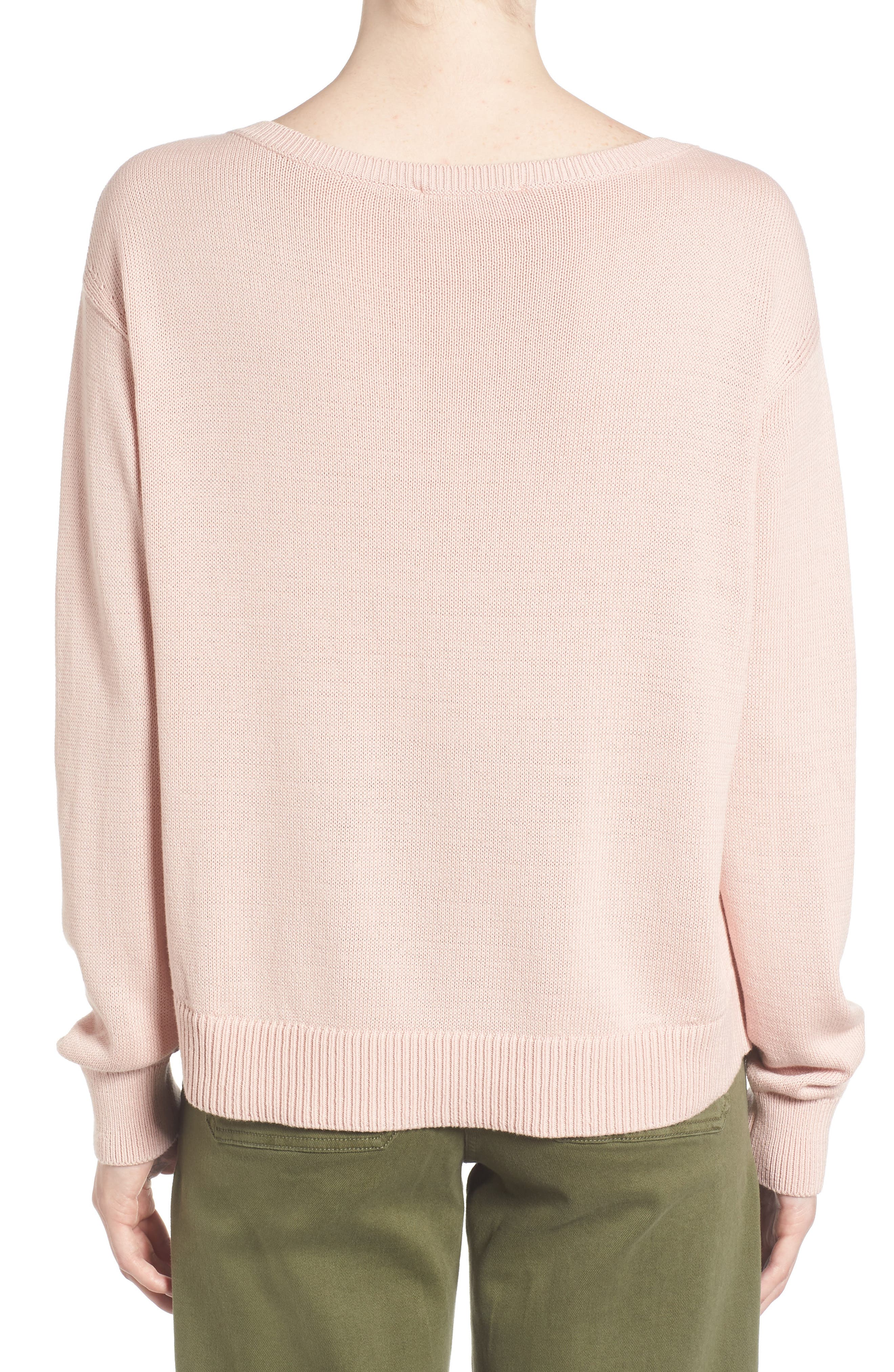 Alternate Image 2  - Everlane The Cotton Long Sleeve V-Neck Crop Sweater