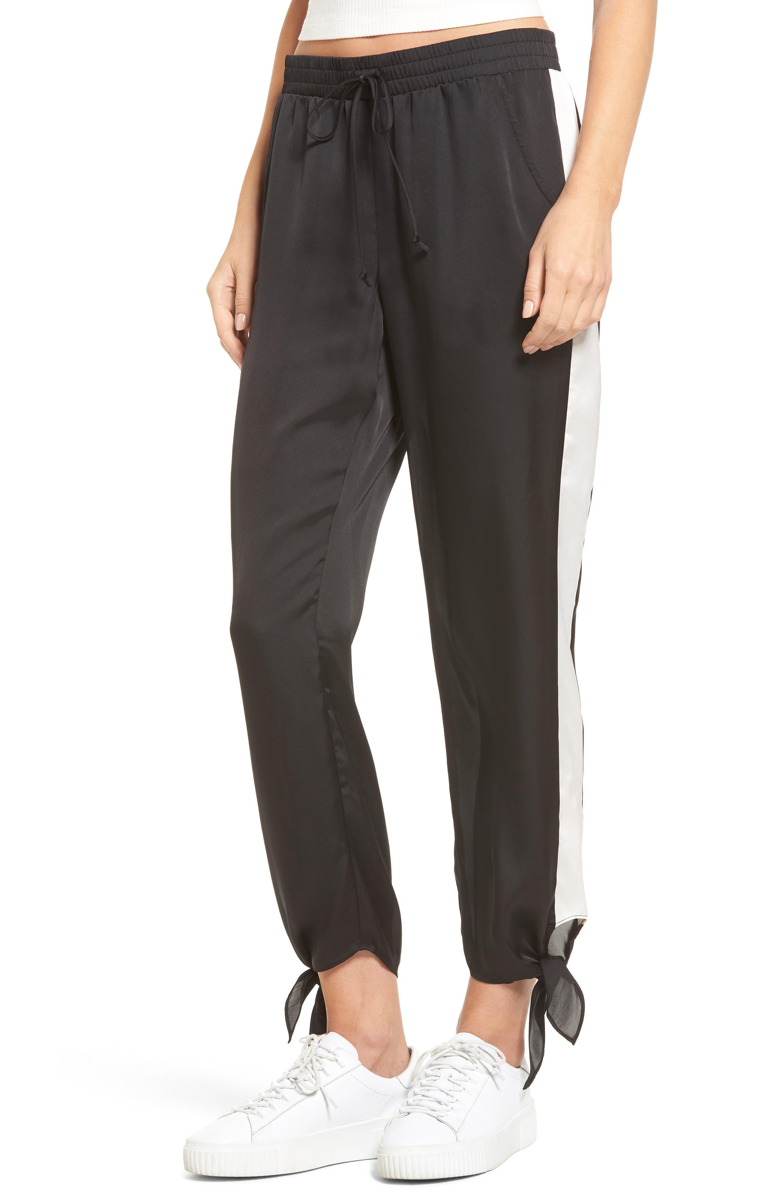 Ankle Tie Track Pants,                         Main,                         color, Black