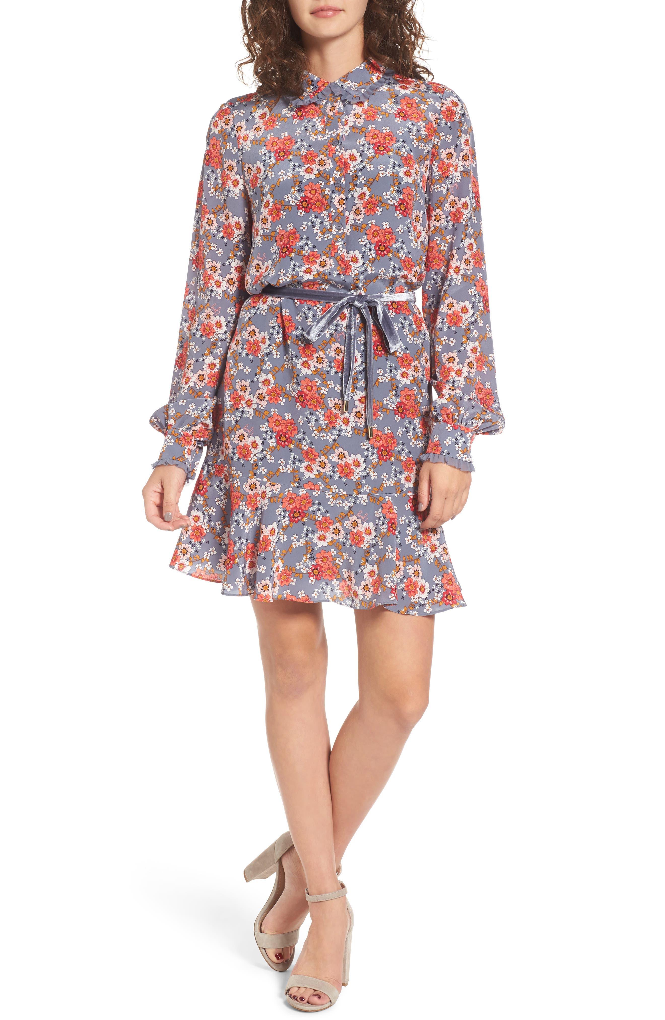 Larchmont Blooms Silk Shirtdress,                             Main thumbnail 1, color,                             Slate Swirl Larchmonth Blooms