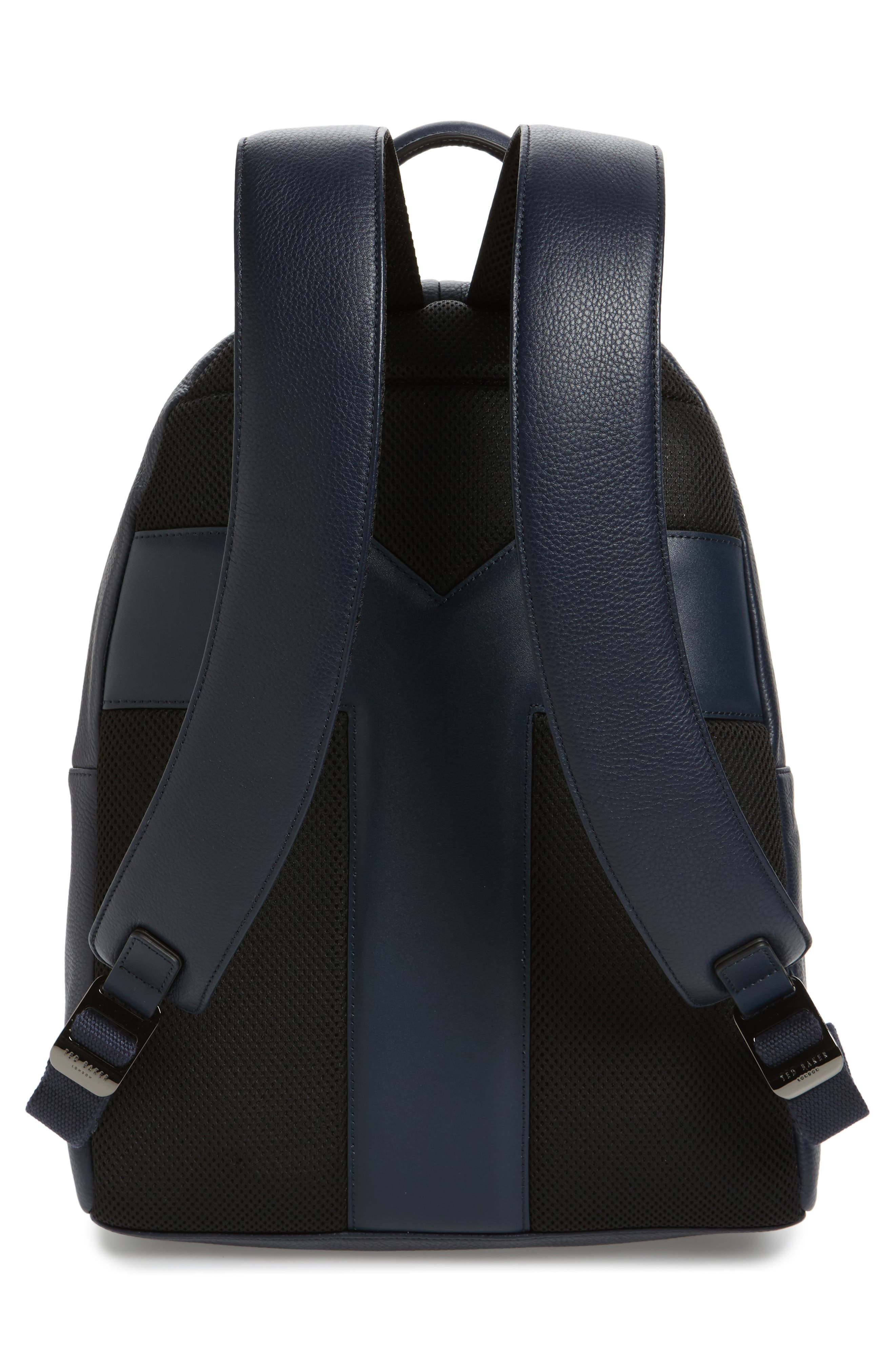 Leather Backpack,                             Alternate thumbnail 3, color,                             Navy