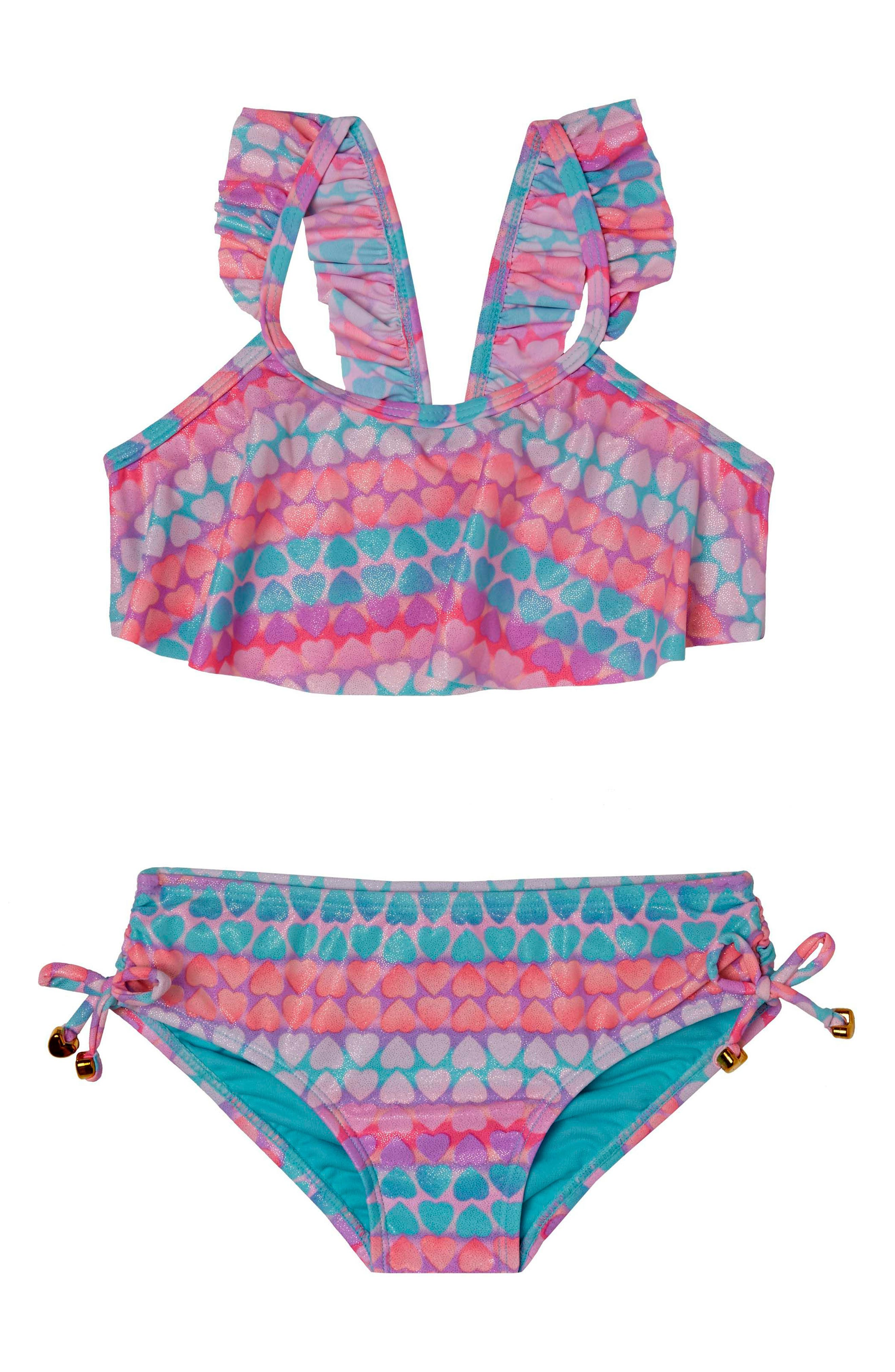 Hula Star Hearts Galore Two-Piece Swimsuit (Toddler Girls & Little Girls)