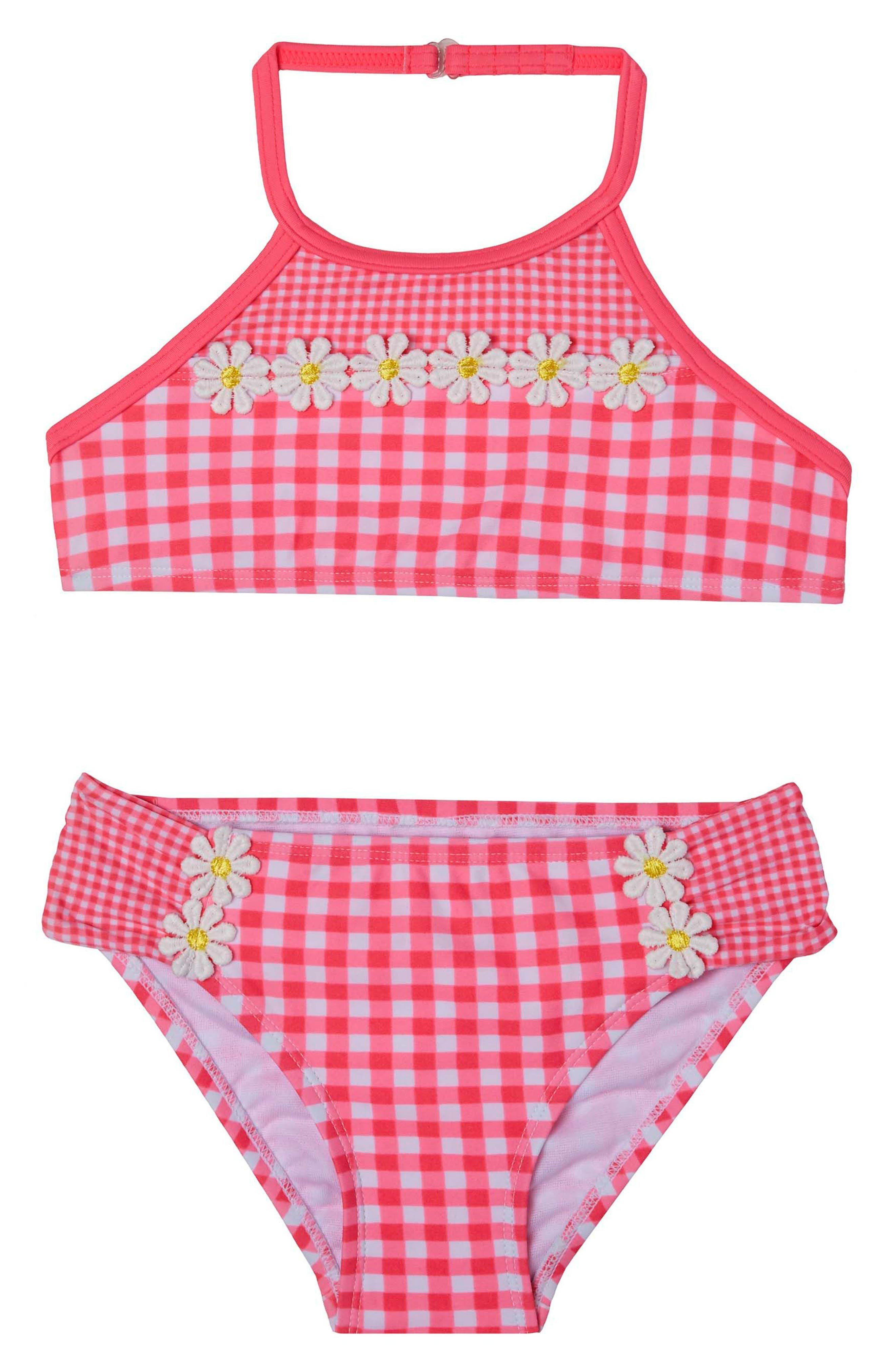 Picnic Gingham Two-Piece Swimsuit,                             Main thumbnail 1, color,                             Red