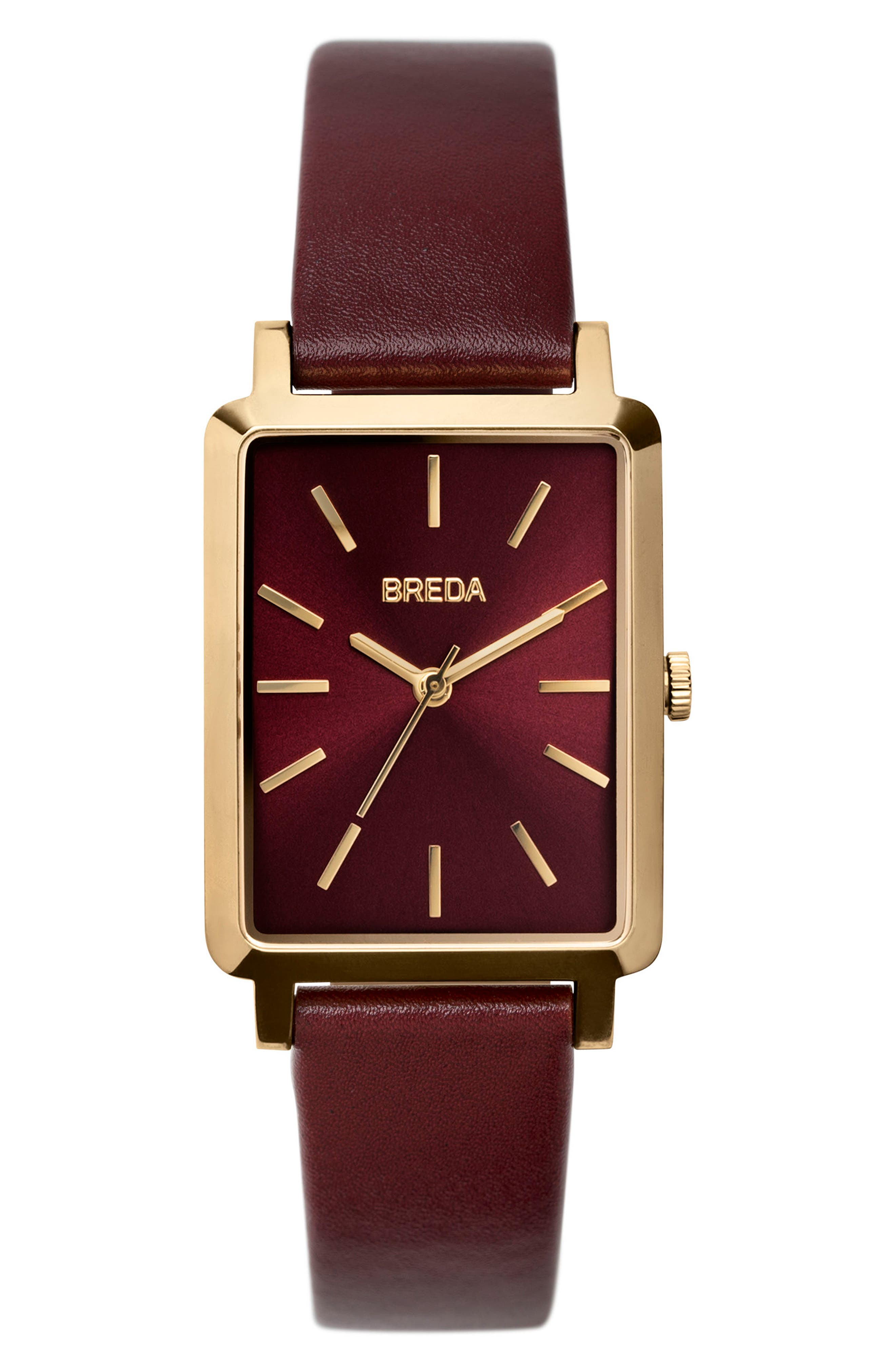 Baer Rectangular Leather Strap Watch, 26mm,                         Main,                         color, Maroon/ Gold