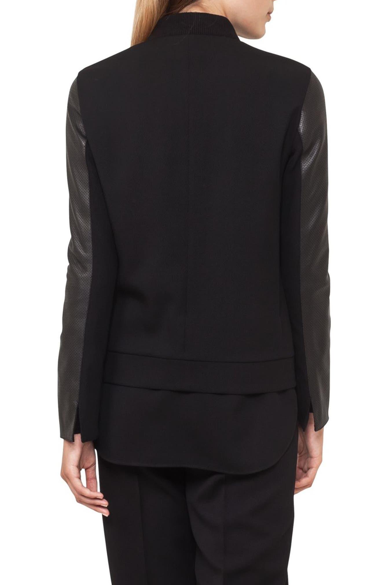 Detachable Hem Leather Bomber Jacket,                             Alternate thumbnail 2, color,                             Black