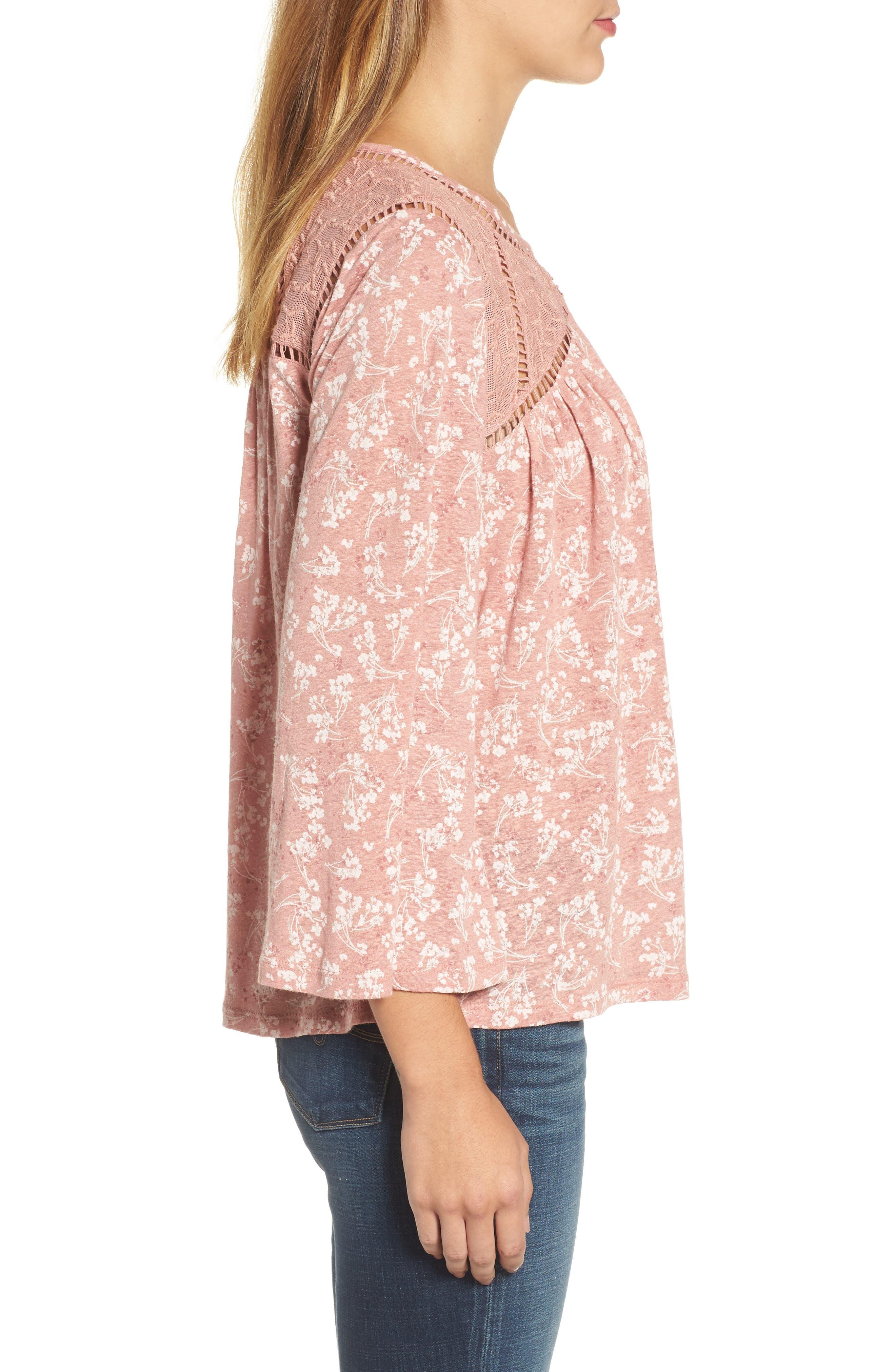 Floral Peasant Top,                             Alternate thumbnail 3, color,                             Rose Multi