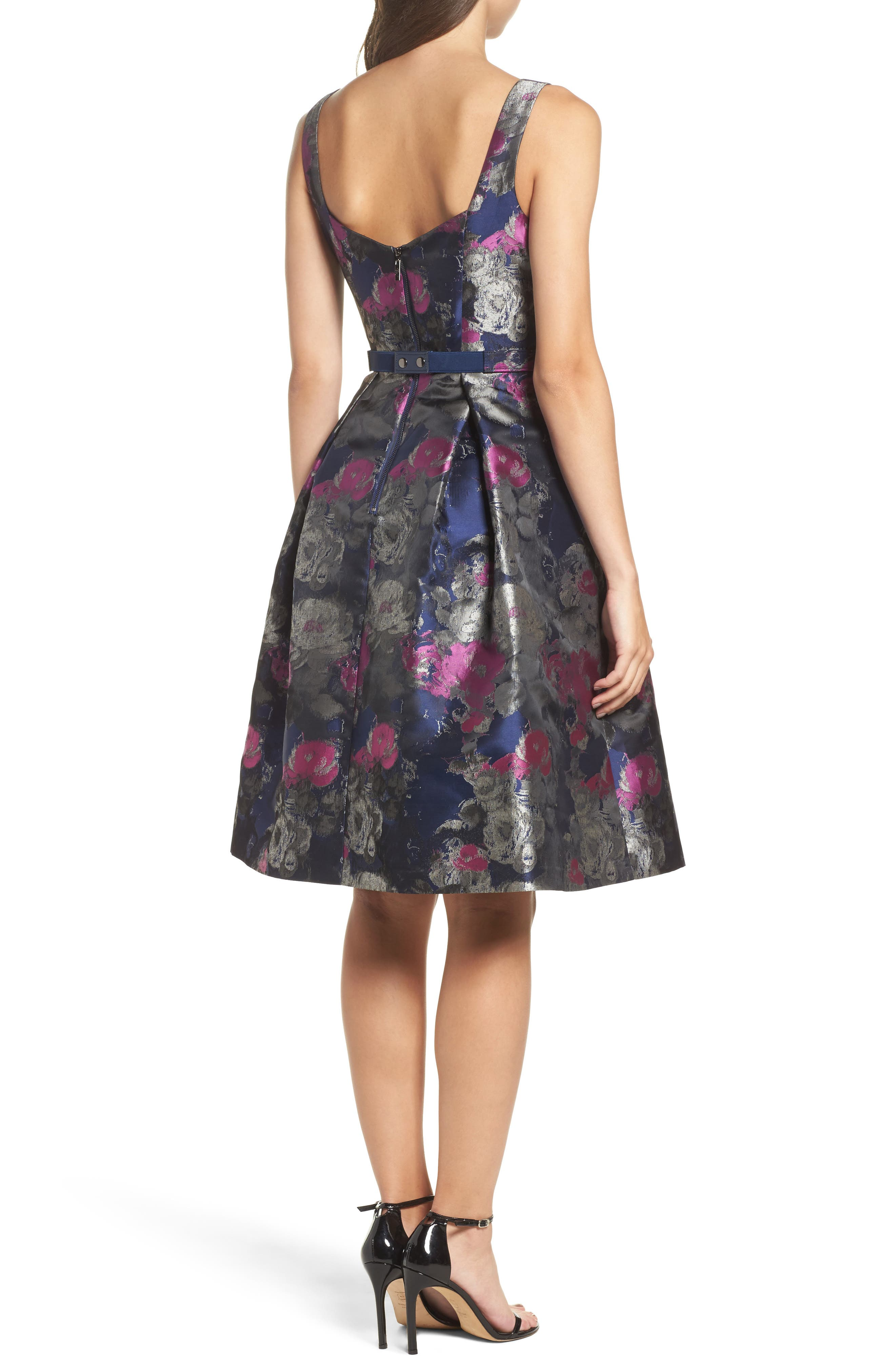 Jacquard Fit & Flare Dress,                             Alternate thumbnail 2, color,                             Navy/ Malbec