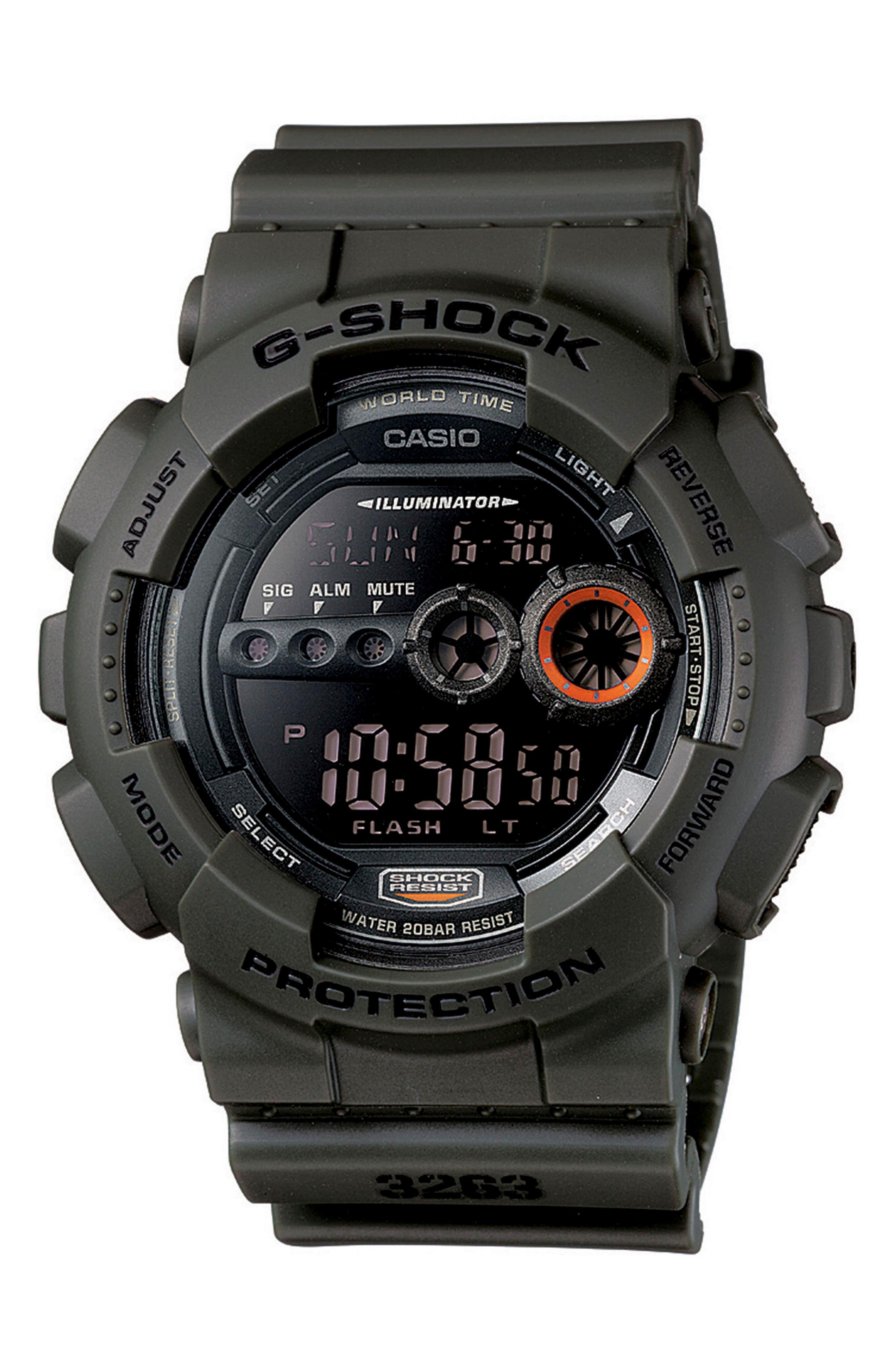Digital Resin Watch, 51mm,                         Main,                         color, Green/ Black/ Green