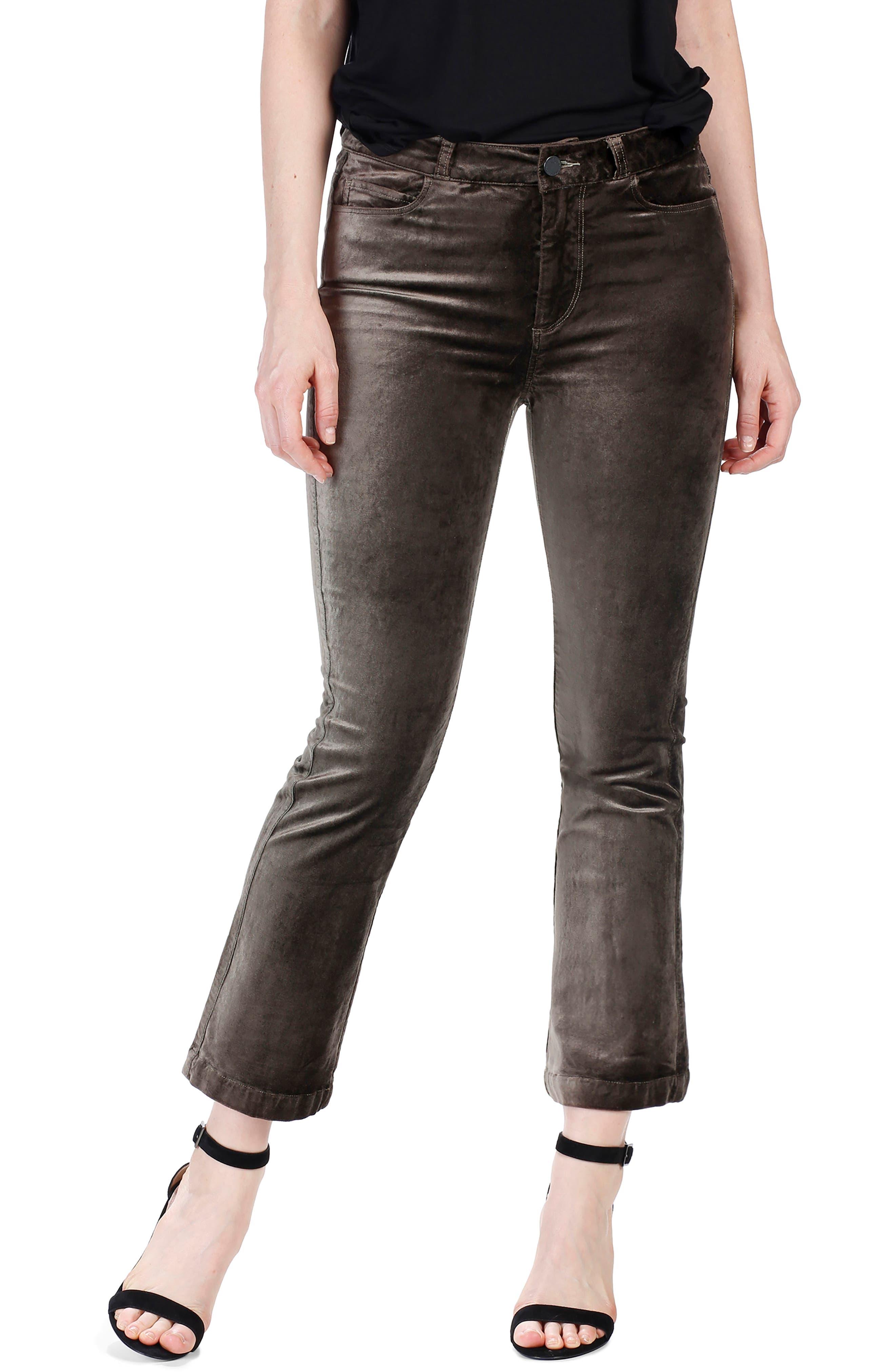 Colette High Waist Crop Flare Velvet Pants,                             Alternate thumbnail 3, color,                             Deep Juniper