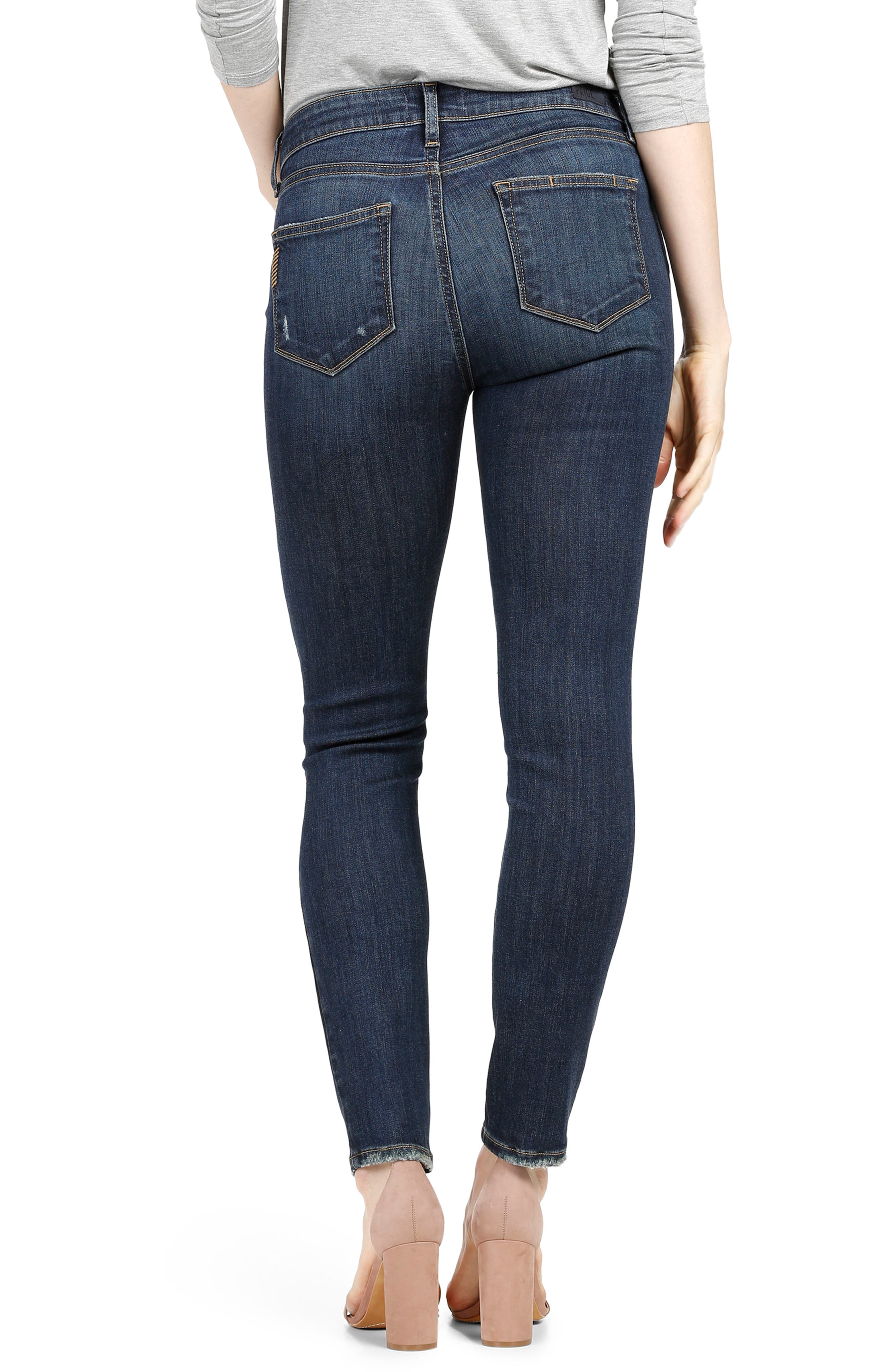 Alternate Image 2  - PAIGE Transcend Vintage - Hoxton Ankle Skinny Jeans (Cleary Destructed)