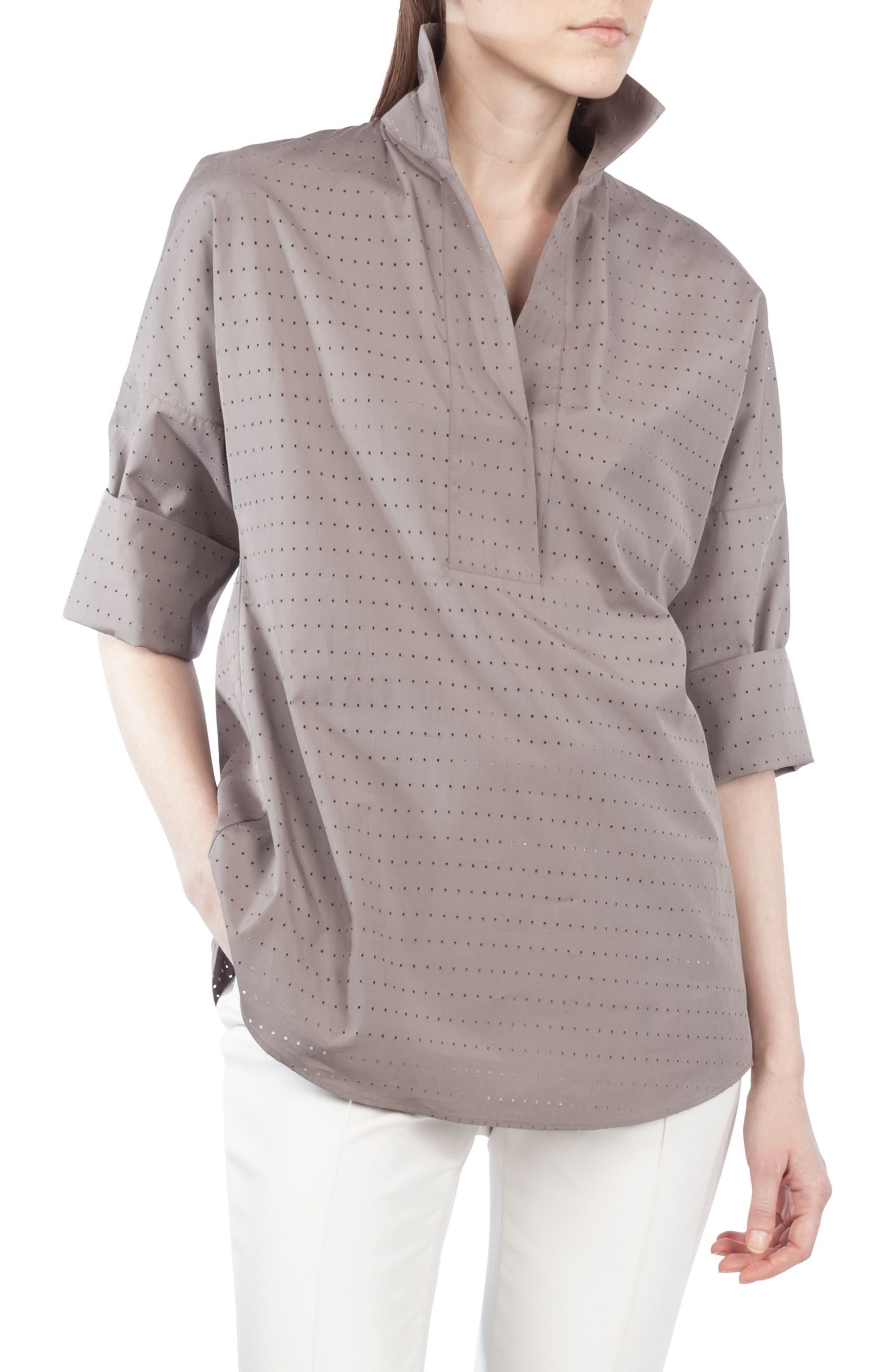 Eyelet Embroidered Kimono Blouse,                         Main,                         color, Taupe