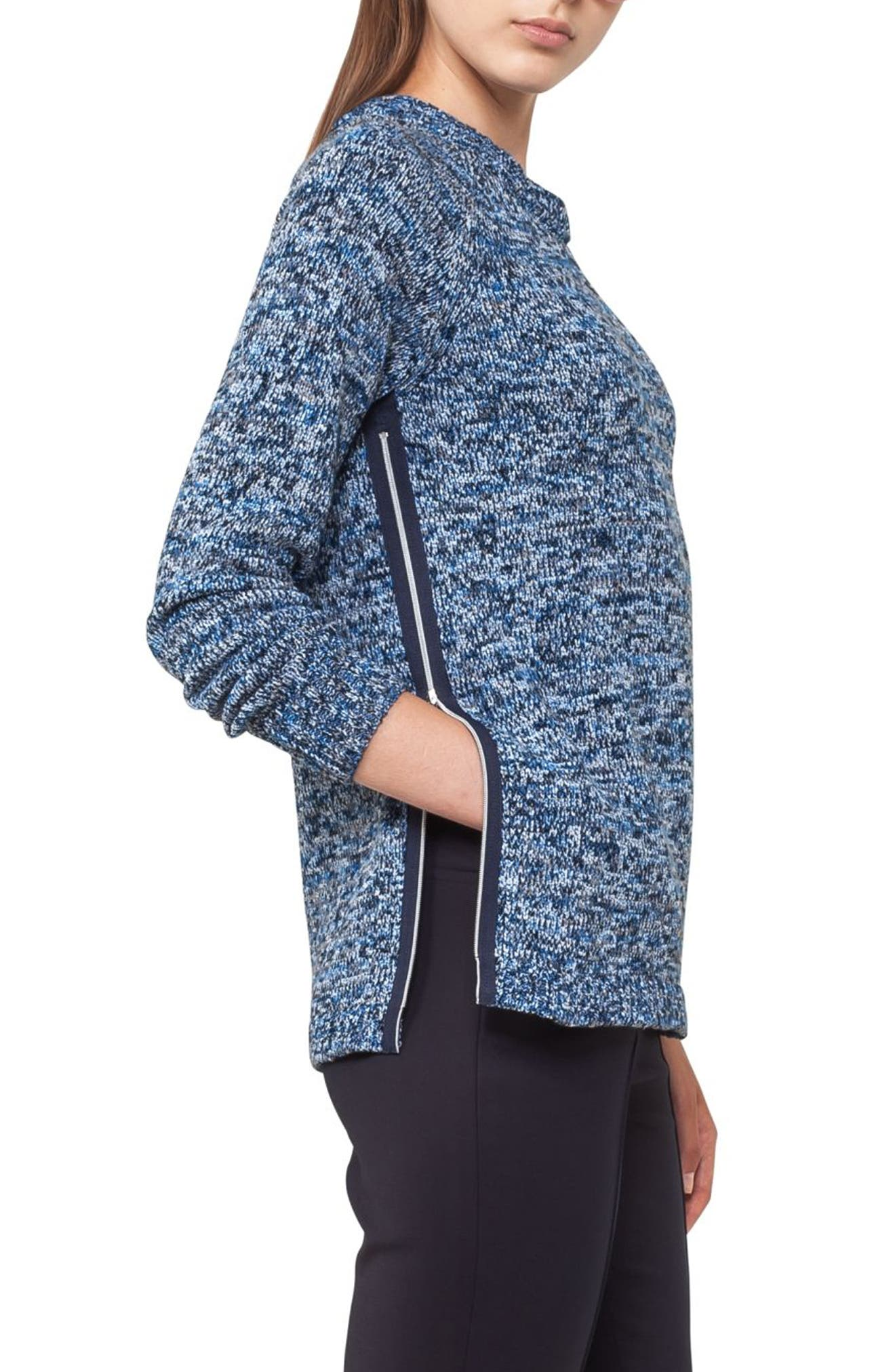 Cotton Blend Knit Pullover,                             Alternate thumbnail 3, color,                             Indigo-Cream