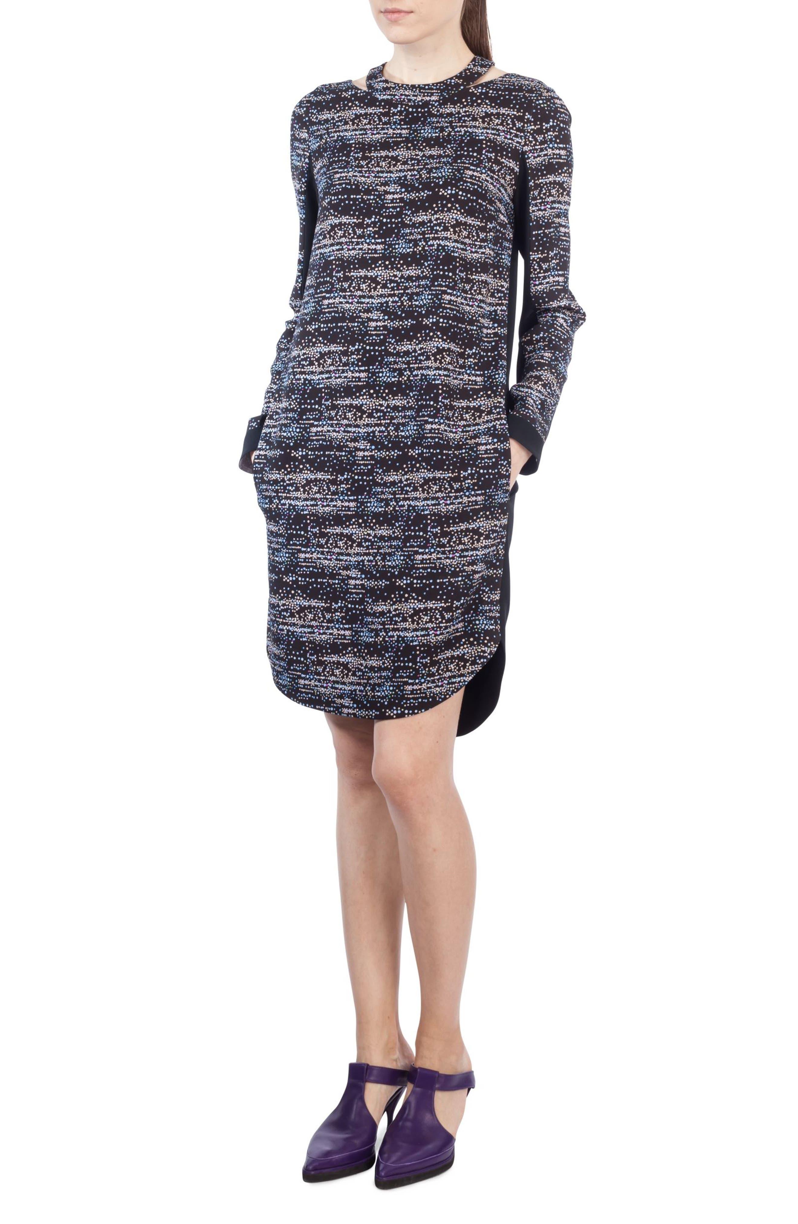 Choker Neck Print Dress,                         Main,                         color, Multicolor