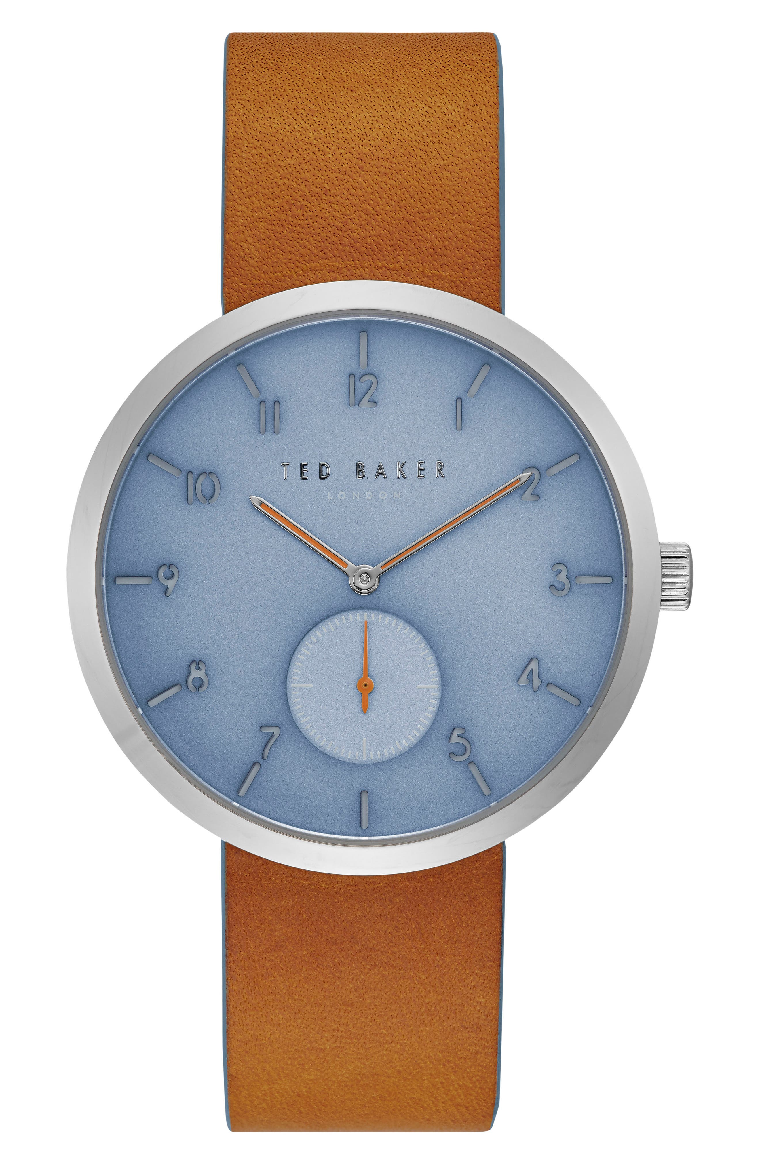 Josh Leather Strap Watch, 42mm,                         Main,                         color, Blue/ Brown
